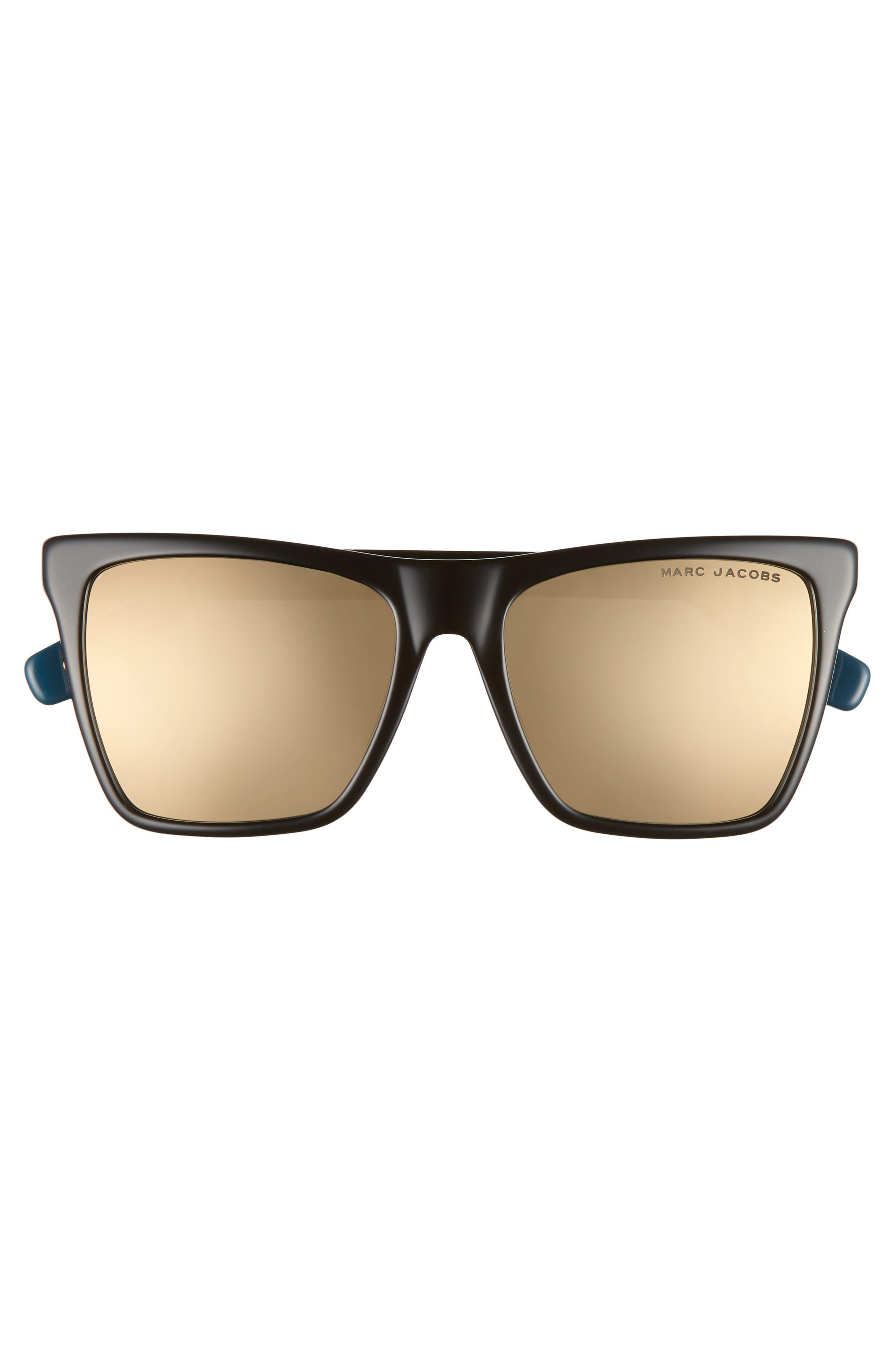 54mm Square Sunglasses,                             Alternate thumbnail 3, color,                             BLACK/ GOLD