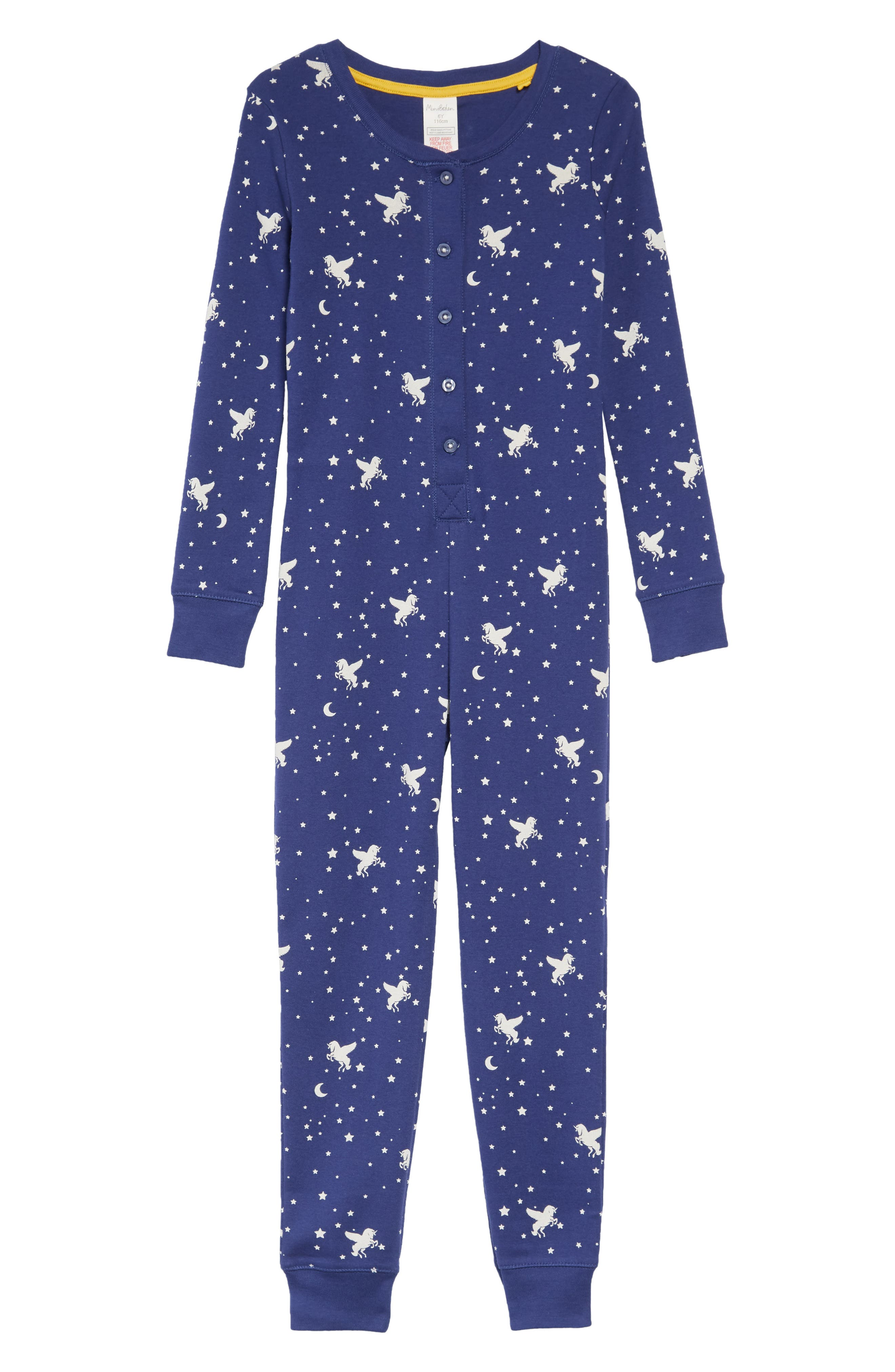 Fitted Cosy All in One Pajamas,                             Main thumbnail 1, color,                             DBL STARBOARD BLUE UNICORN SKY