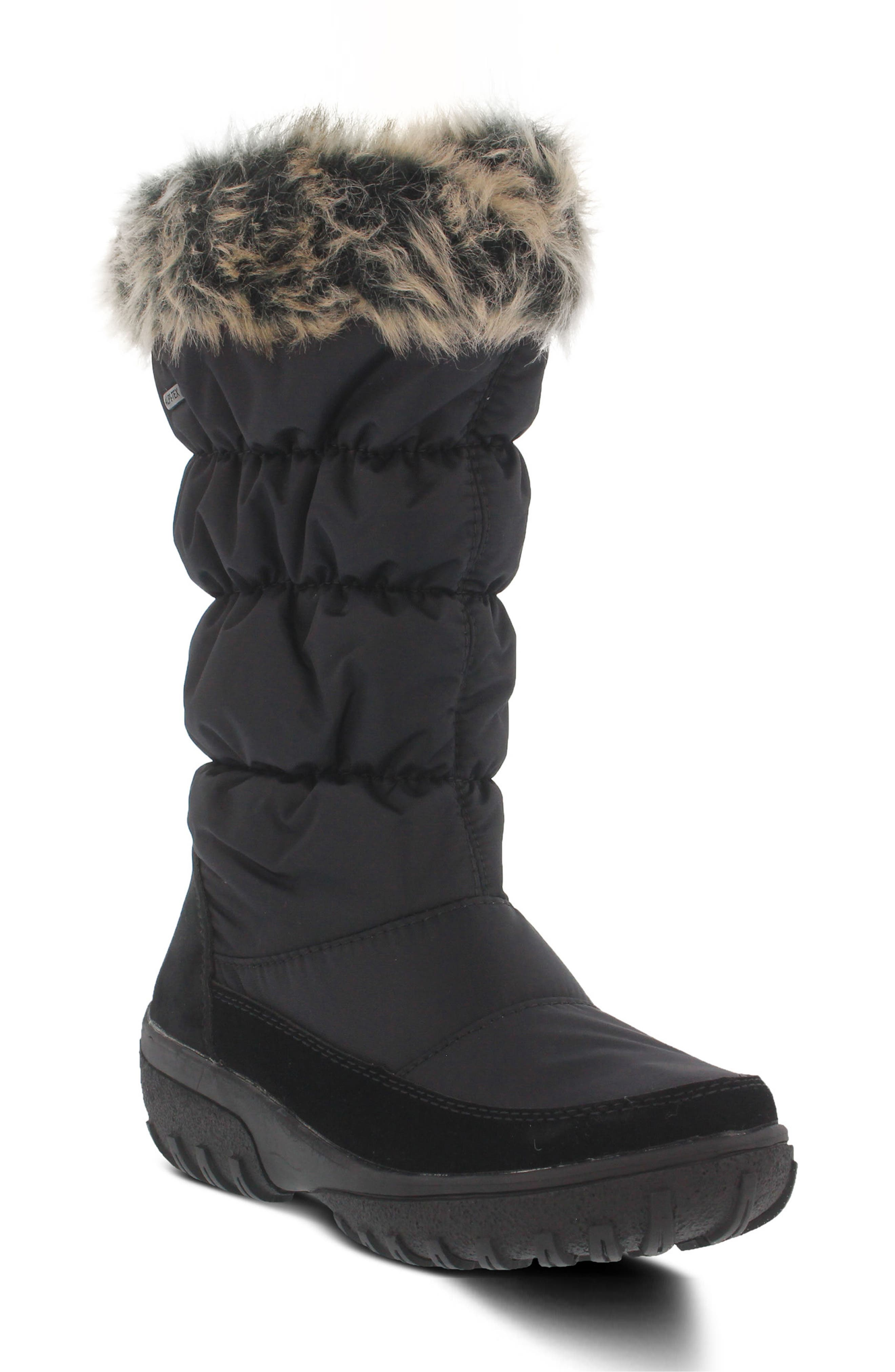 Vanish Faux Fur Trim Waterproof Boot,                             Main thumbnail 1, color,                             001