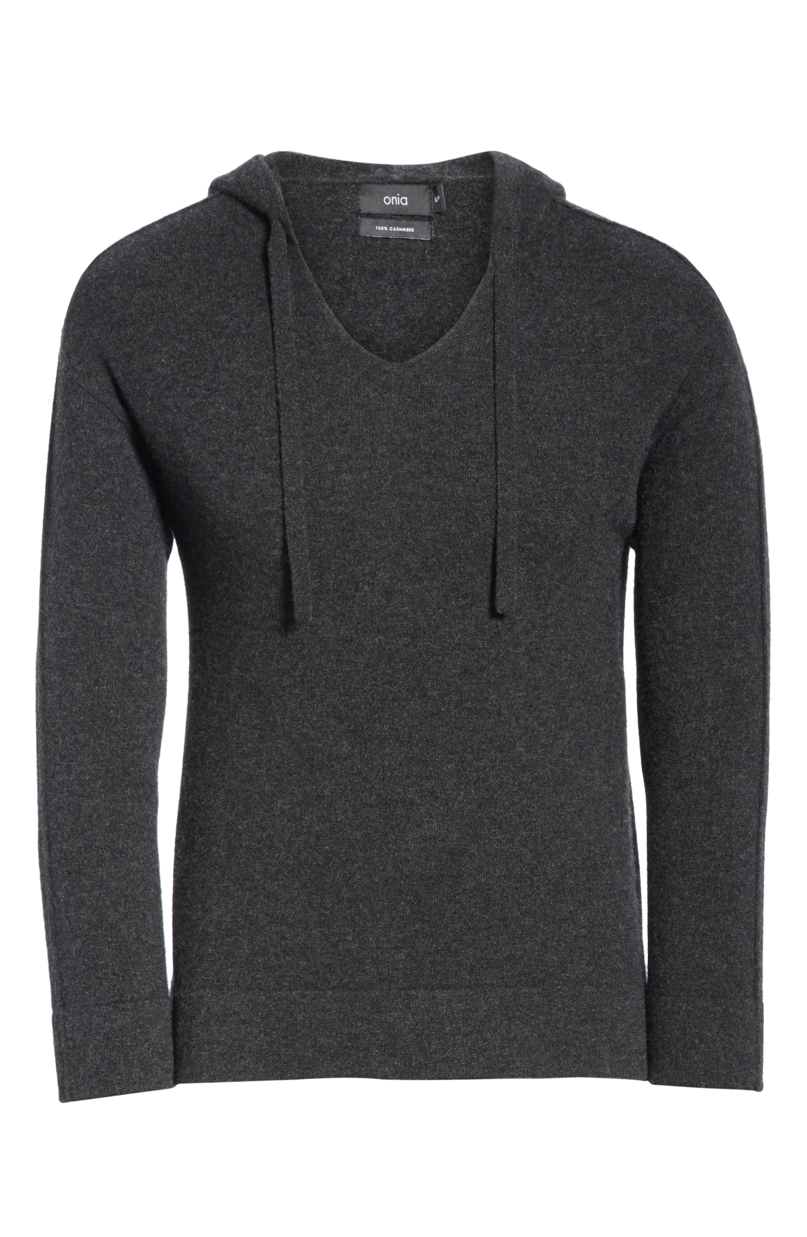 Jamie Sunset Cashmere Hooded Sweater,                             Alternate thumbnail 6, color,                             CHARCOAL