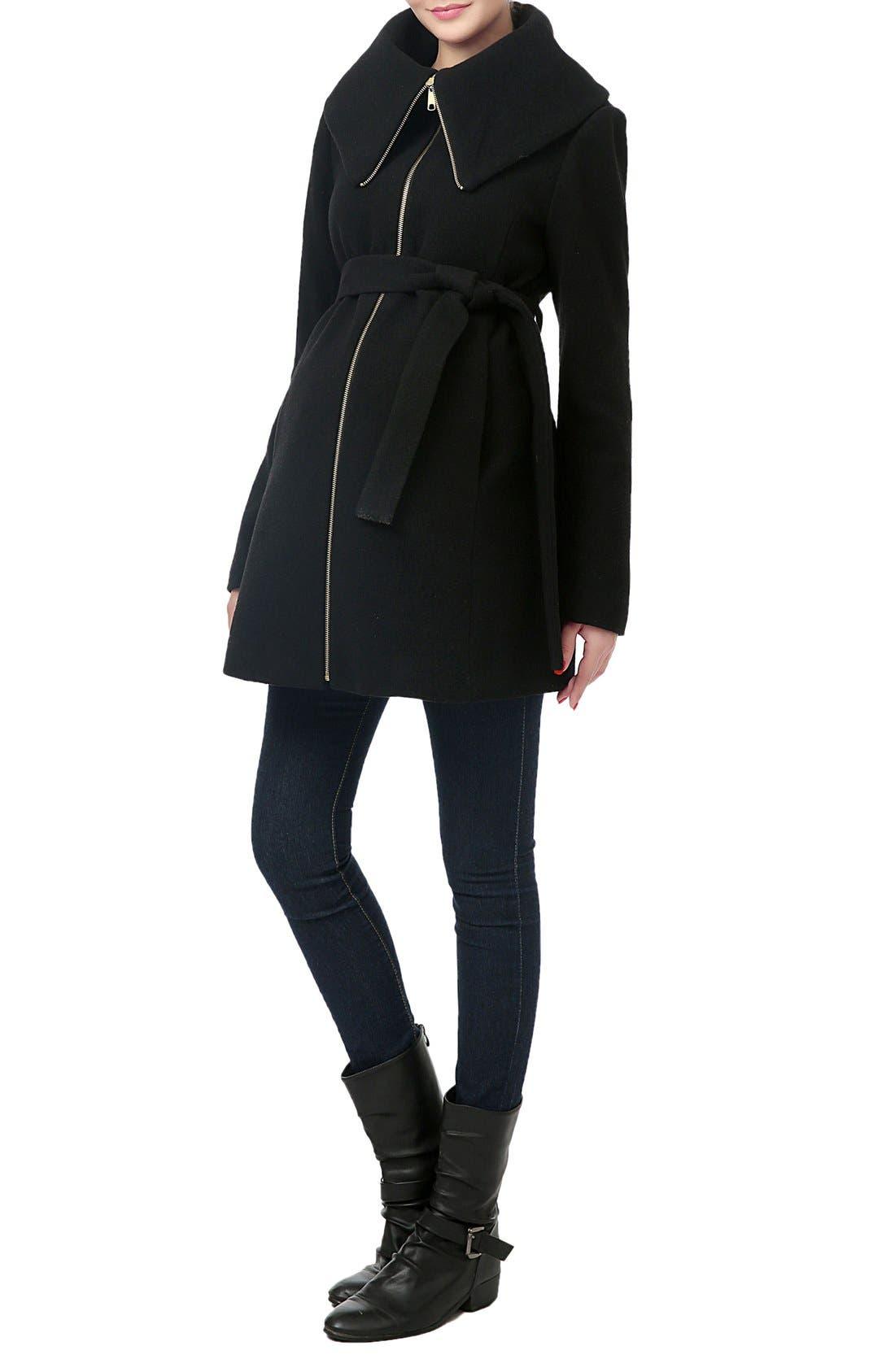 'Mia' High Collar Maternity Coat,                             Alternate thumbnail 4, color,                             BLACK