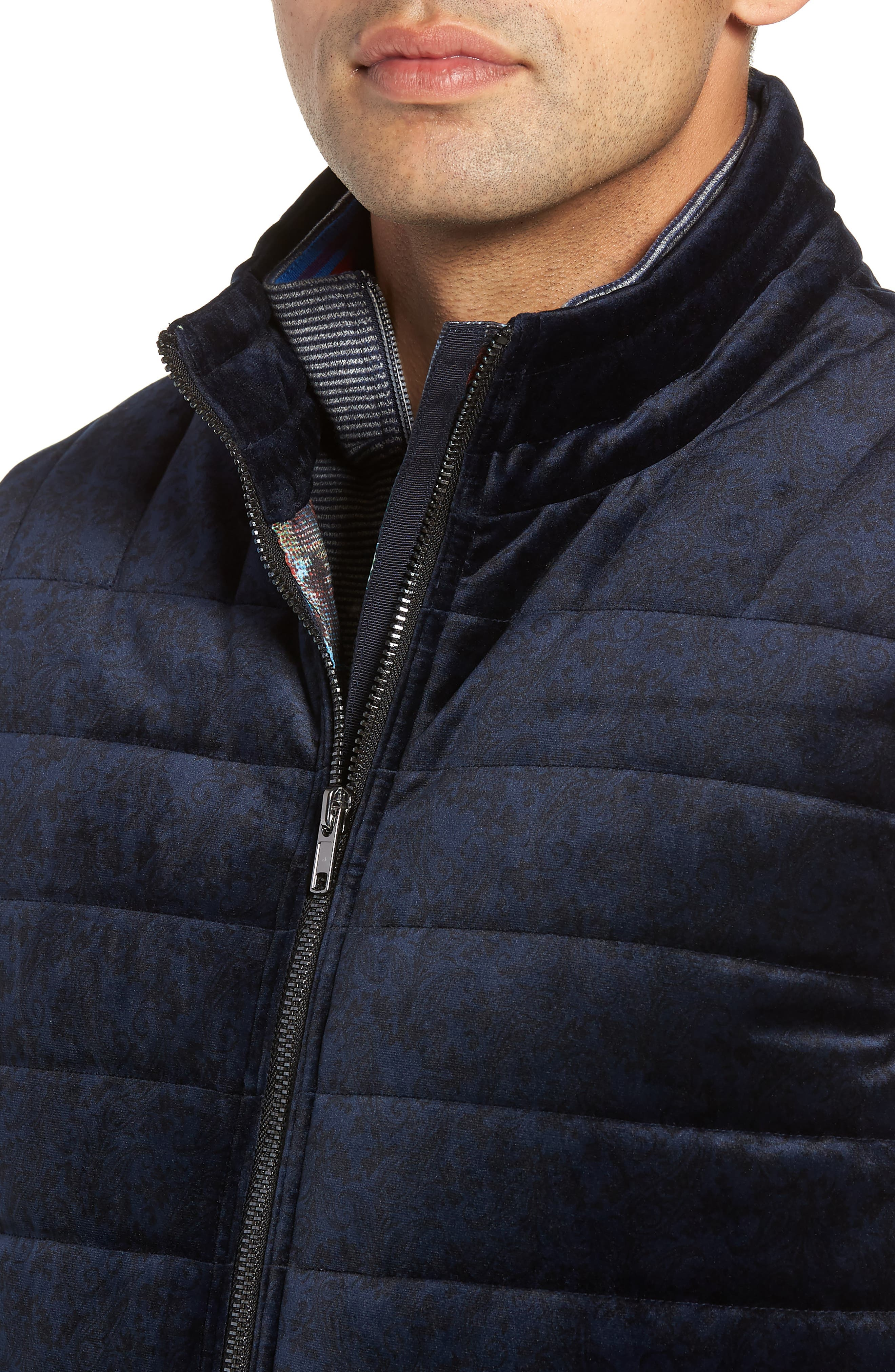 Guiffery Classic Fit Quilted Vest,                             Alternate thumbnail 4, color,                             NAVY