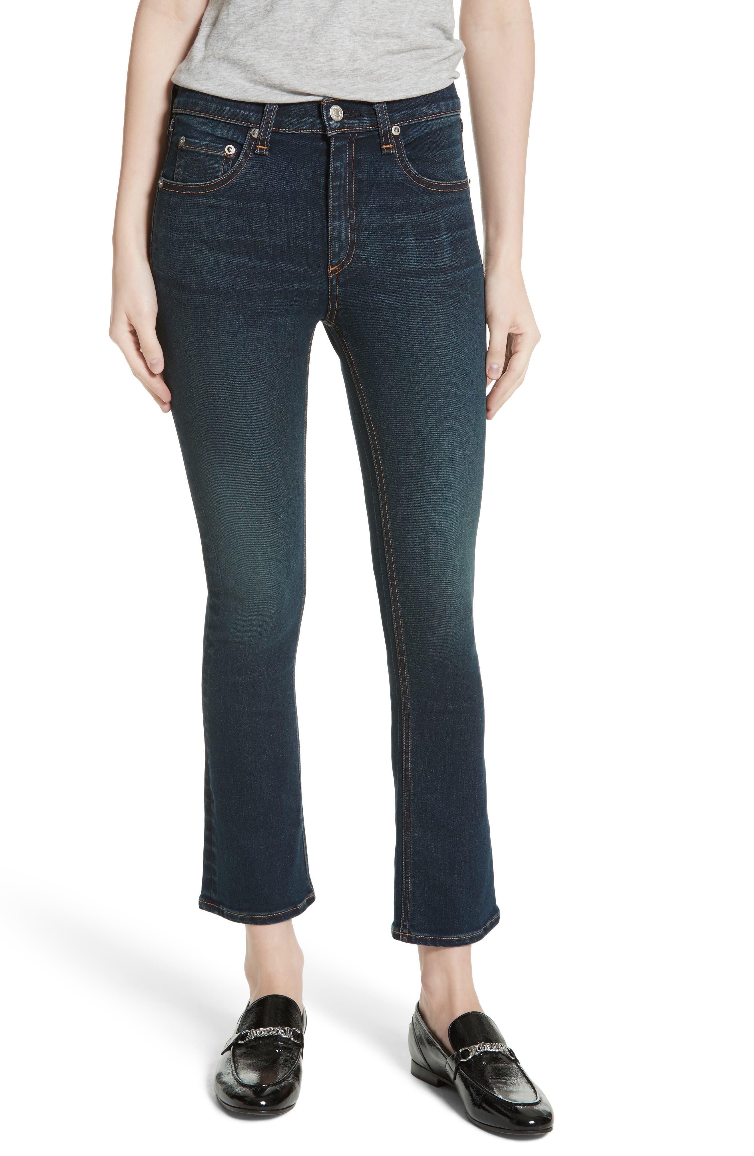 Hana High Waist Crop Flare Jeans,                             Main thumbnail 1, color,                             421