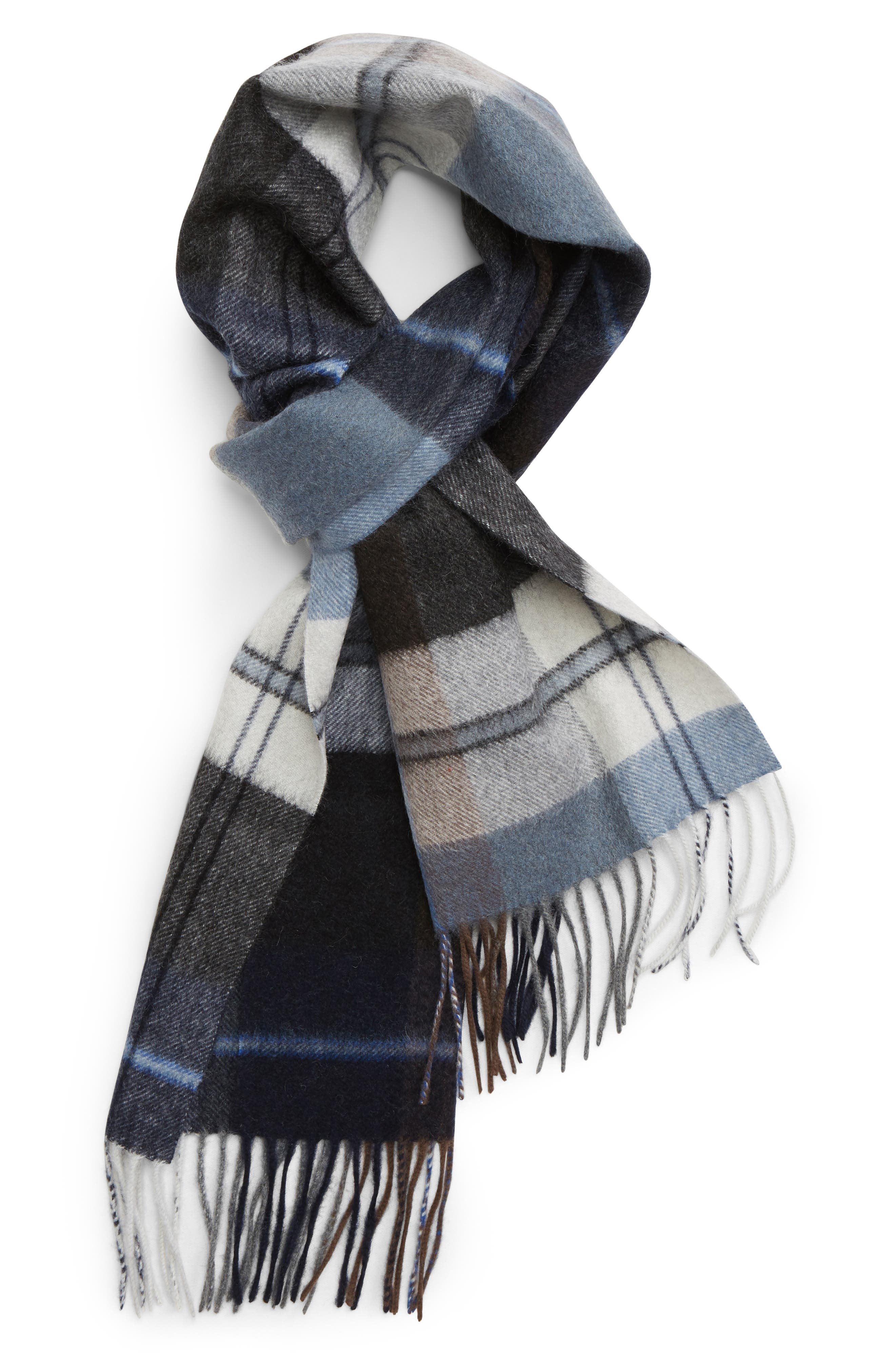Cashmere Plaid Scarf,                         Main,                         color, NAVY/ GREY