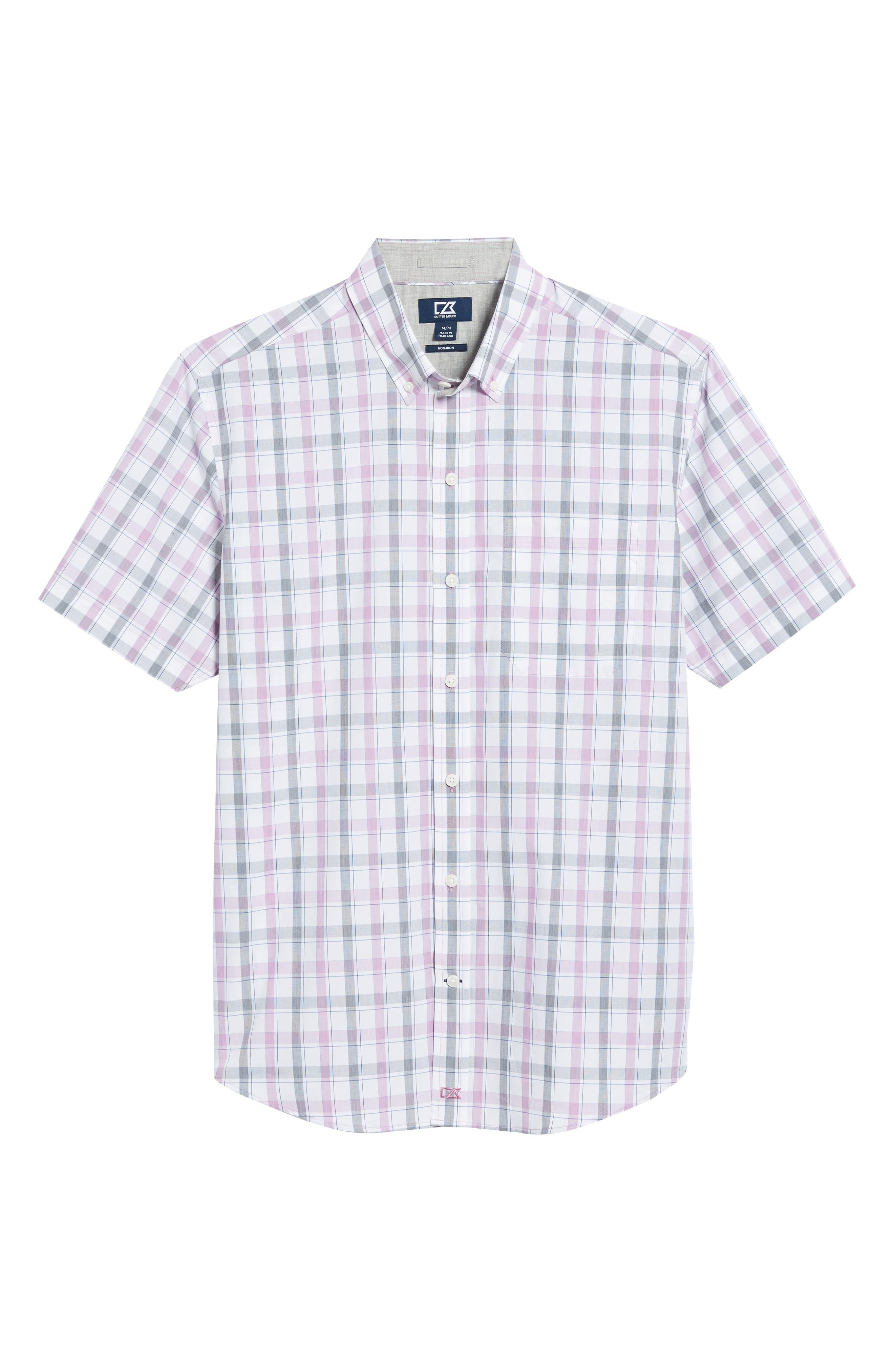 Griffen Non-Iron Plaid Sport Shirt,                             Alternate thumbnail 6, color,