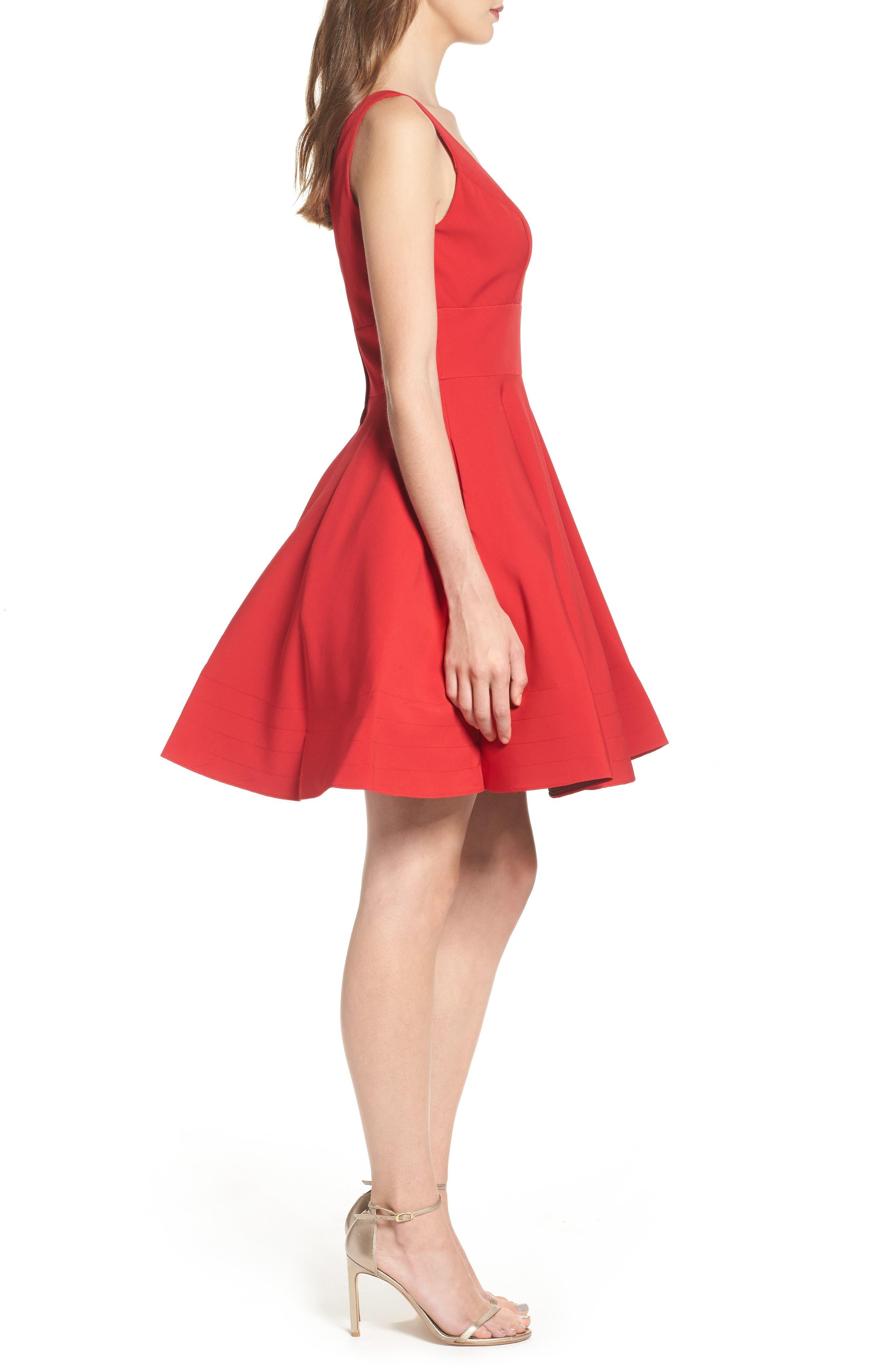 V-Neck Fit & Flare Dress,                             Alternate thumbnail 3, color,                             602