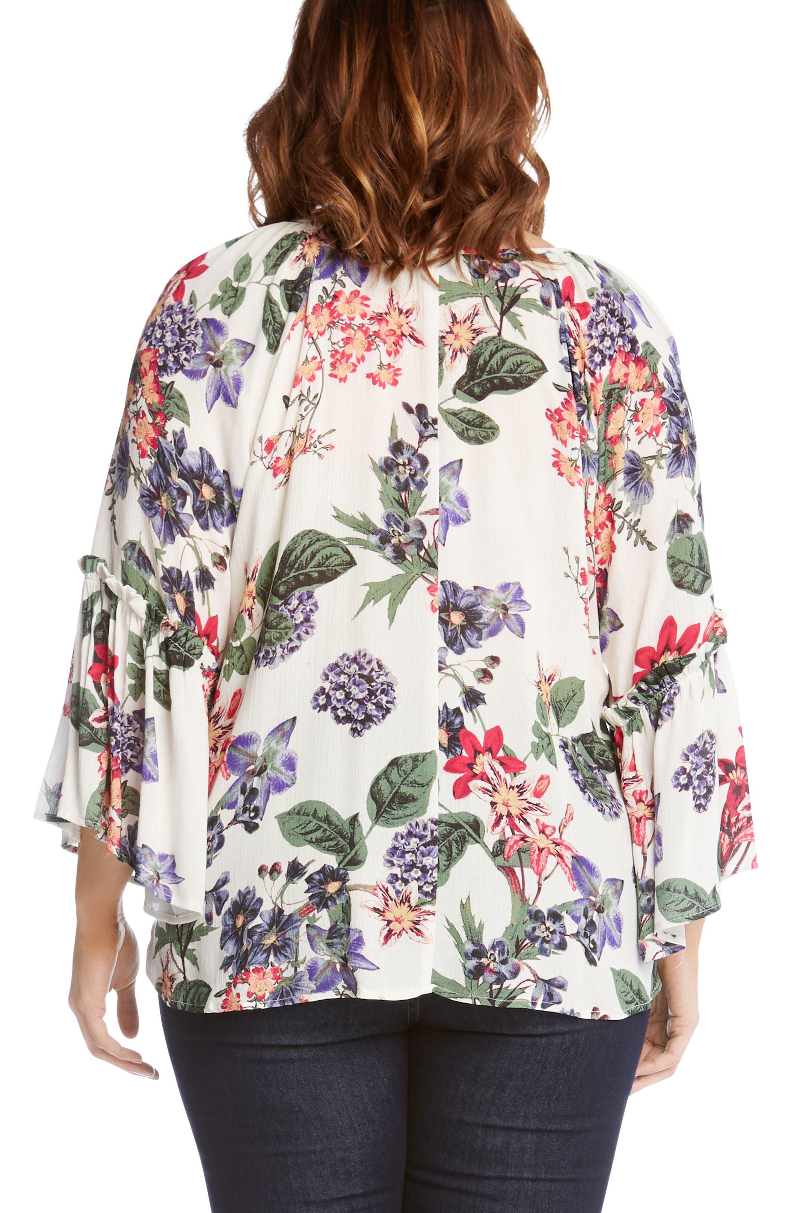 KAREN KANE,                             Ruffle Sleeve Floral Top,                             Alternate thumbnail 2, color,                             108