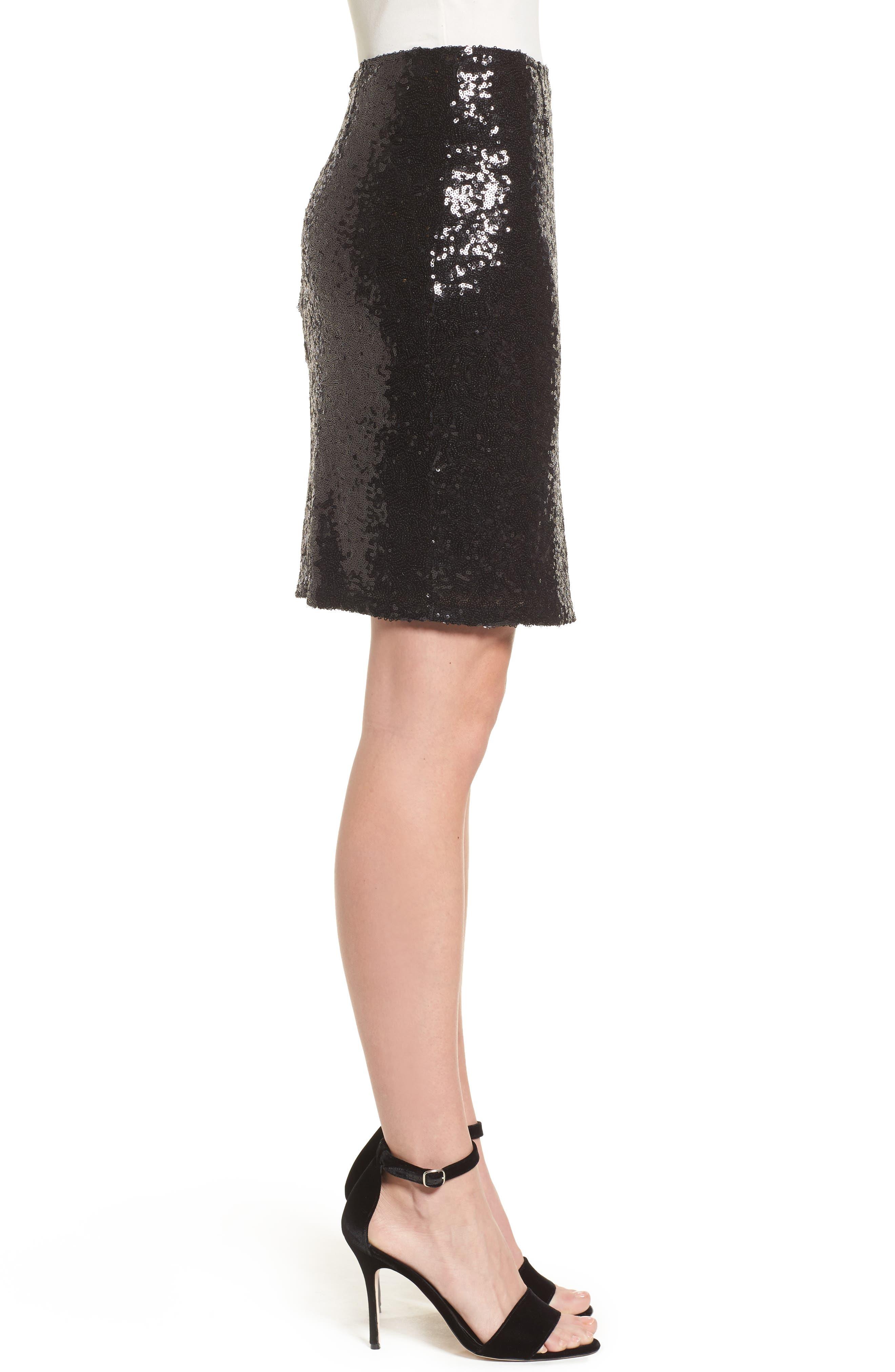 Short Sequin Skirt,                             Alternate thumbnail 3, color,                             001