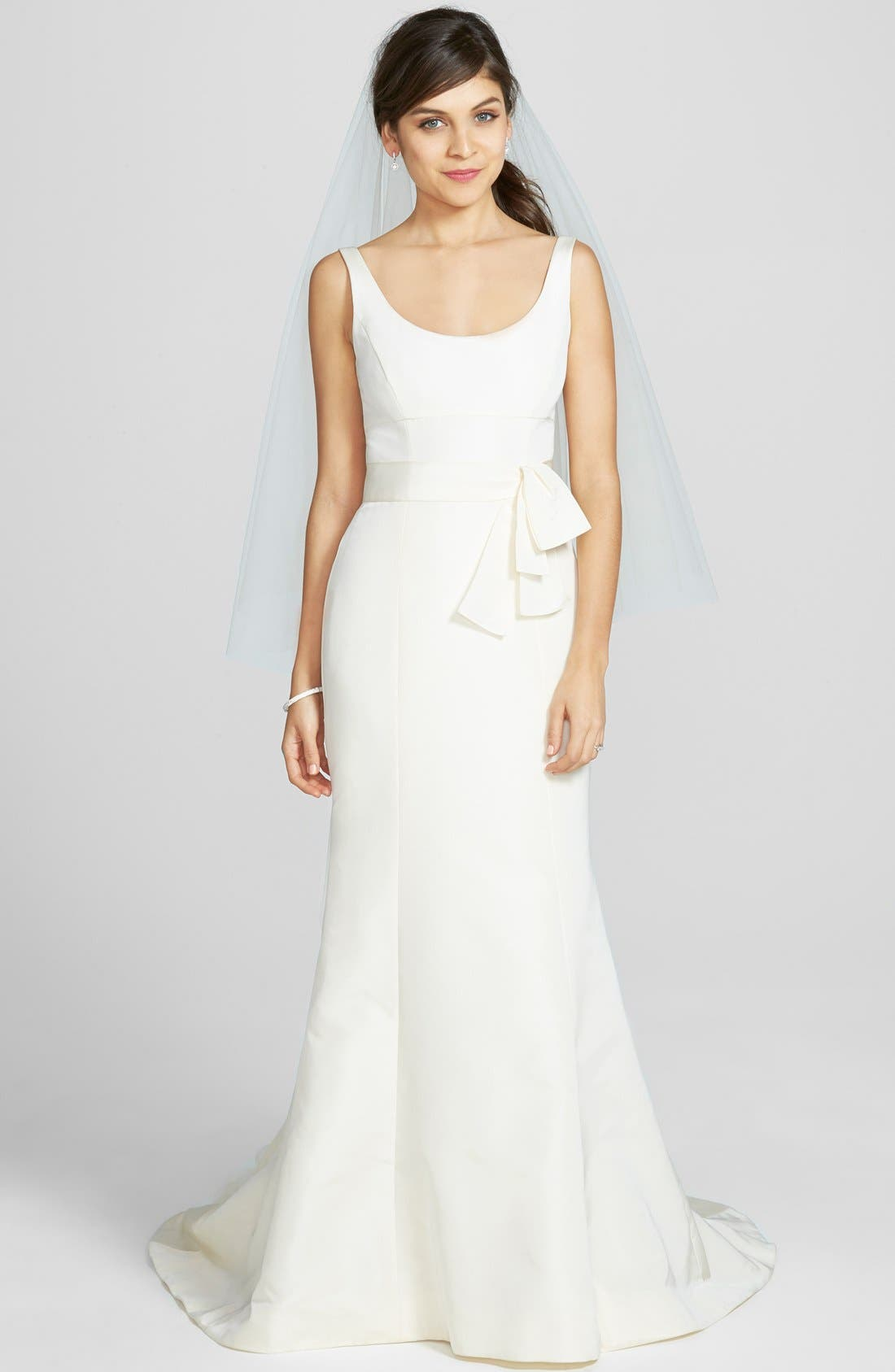 AMSALE 'Cate' Faille De Soie Fit & Flare Dress in Ivory