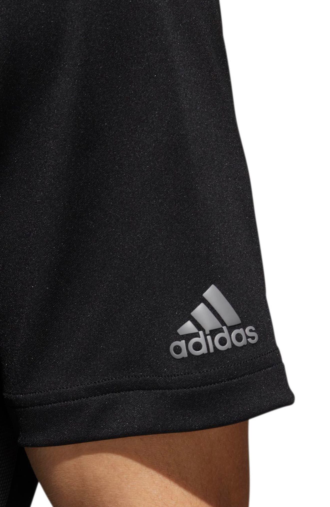 adidas 3-Stripes Regular Fit Golf Polo,                             Alternate thumbnail 5, color,                             BLACK/ GREY