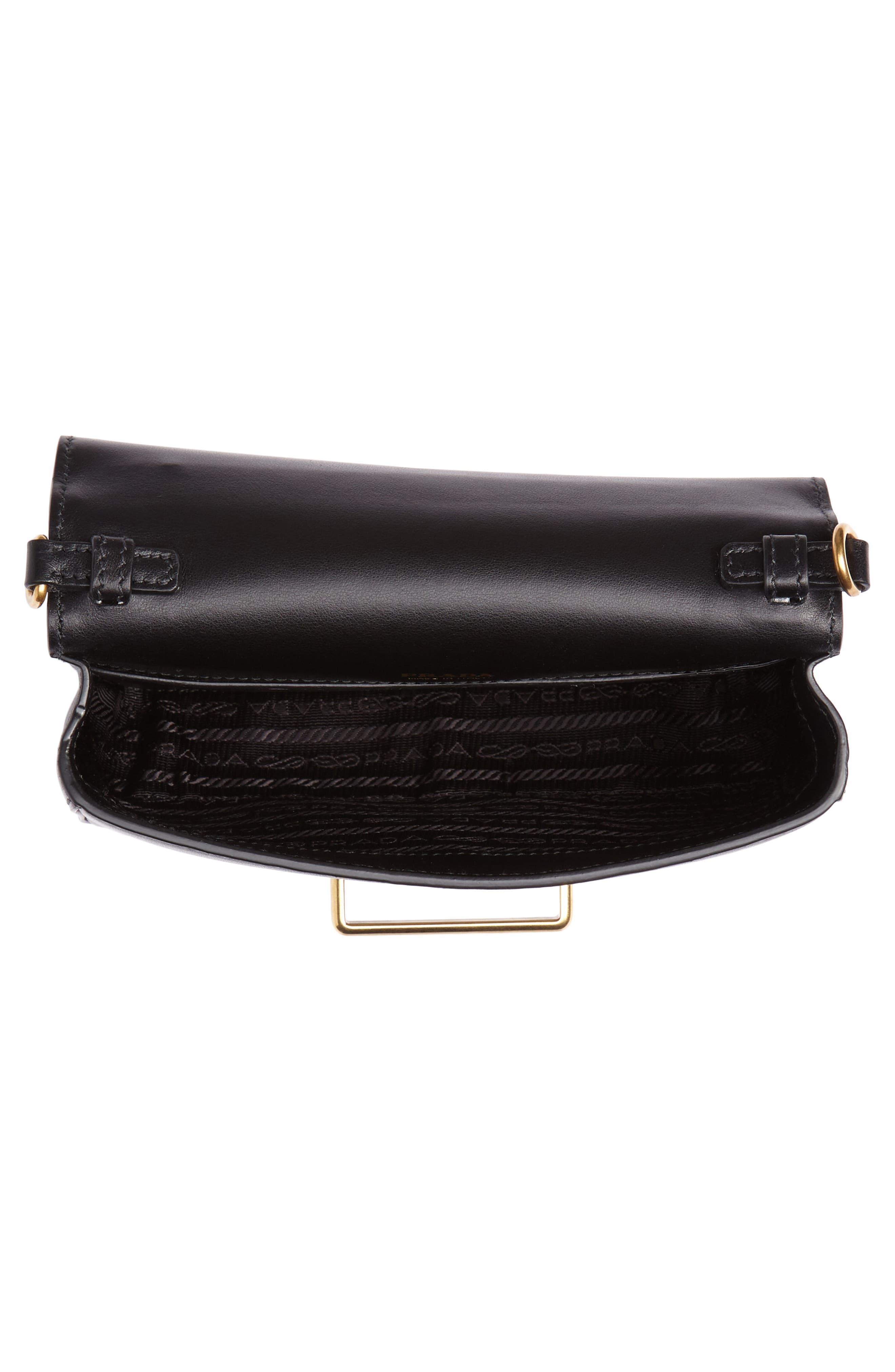 PRADA,                             Cahier Leather Belt Bag,                             Alternate thumbnail 5, color,                             001