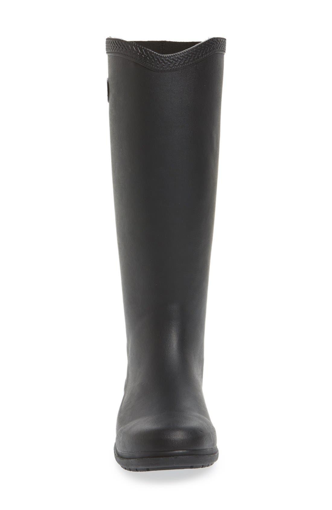 'Galochas Hi Matte' Waterproof Rain Boot,                             Alternate thumbnail 3, color,                             001
