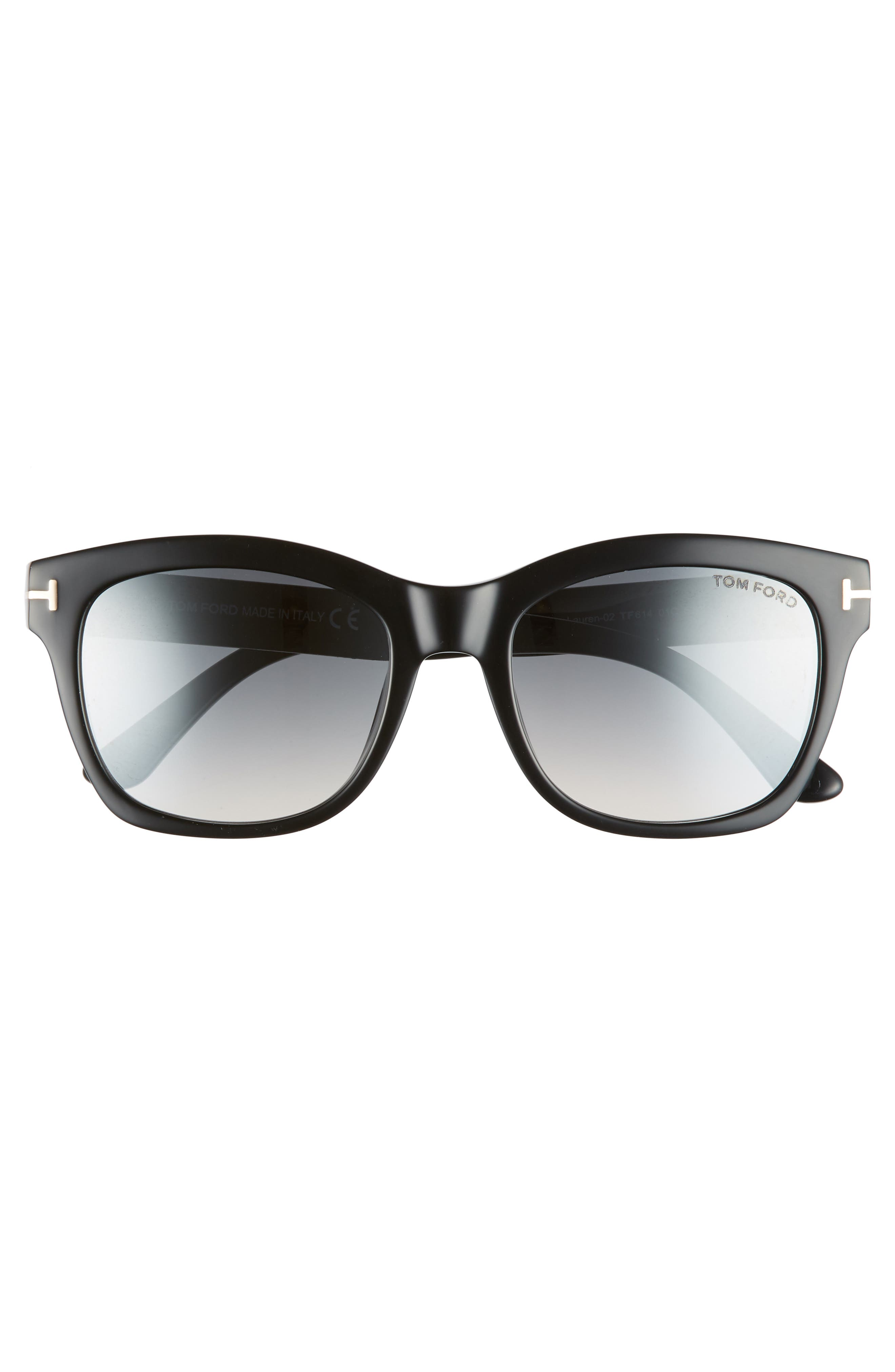 Lauren 52mm Sunglasses,                             Alternate thumbnail 3, color,                             SHINY BLACK/ SMOKE MIRROR