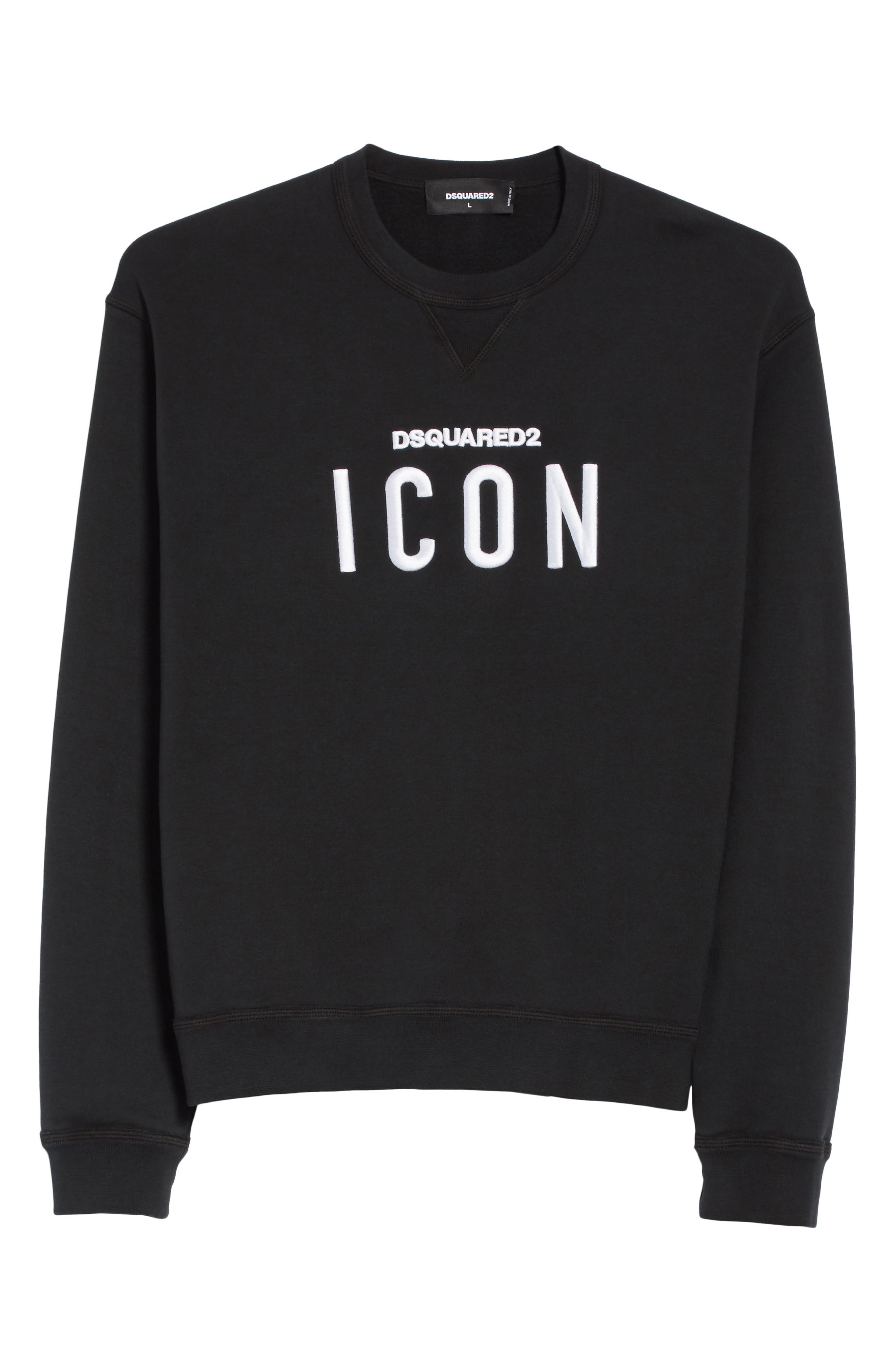 Icon Embroidered Crewneck Sweatshirt,                             Alternate thumbnail 6, color,                             001