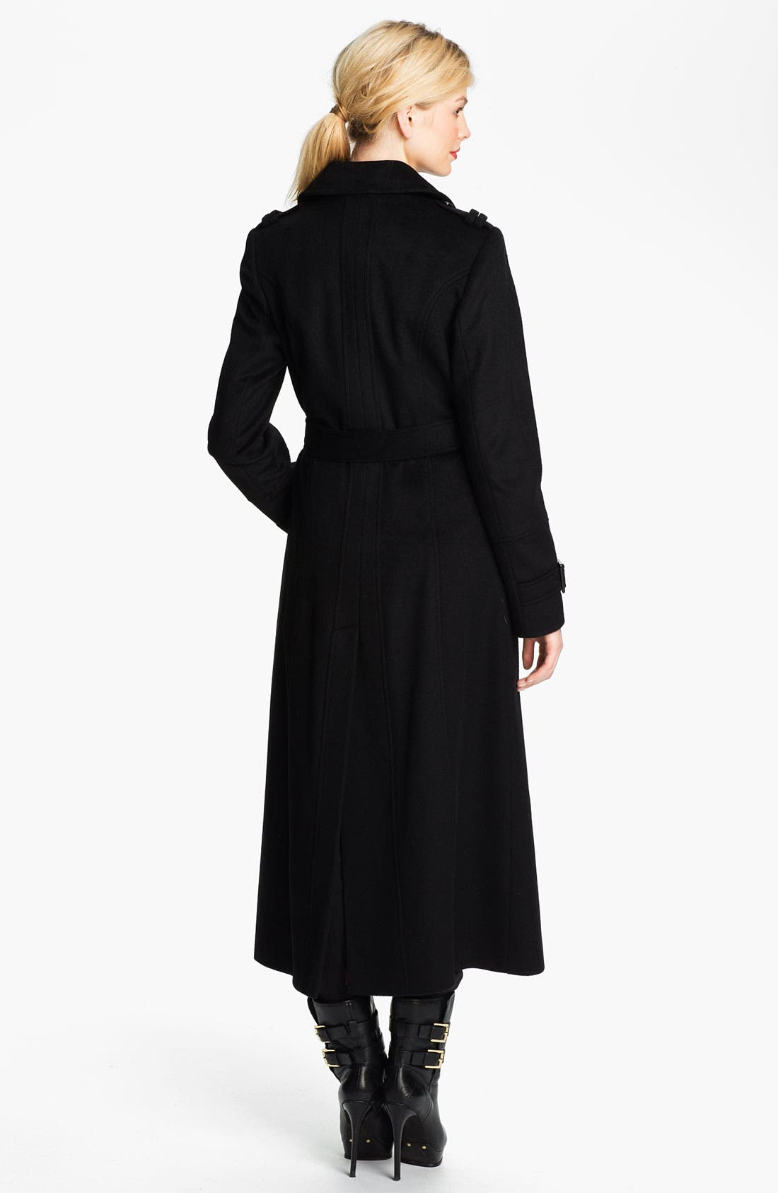 Double Breasted Maxi Coat,                             Alternate thumbnail 2, color,                             001