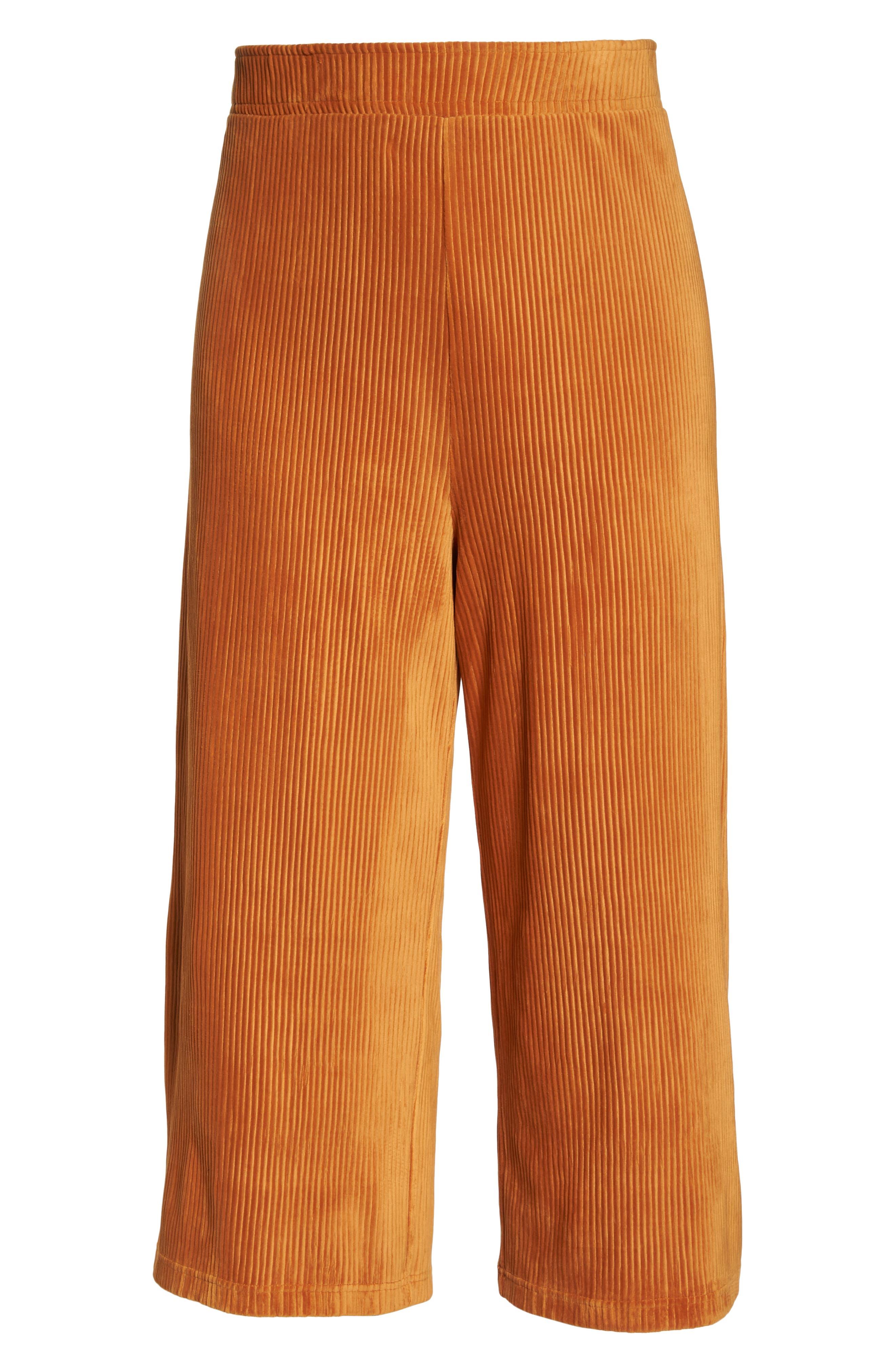 High Rise Knit Corduroy Crop Pants,                             Alternate thumbnail 12, color,                             RUST CIDER