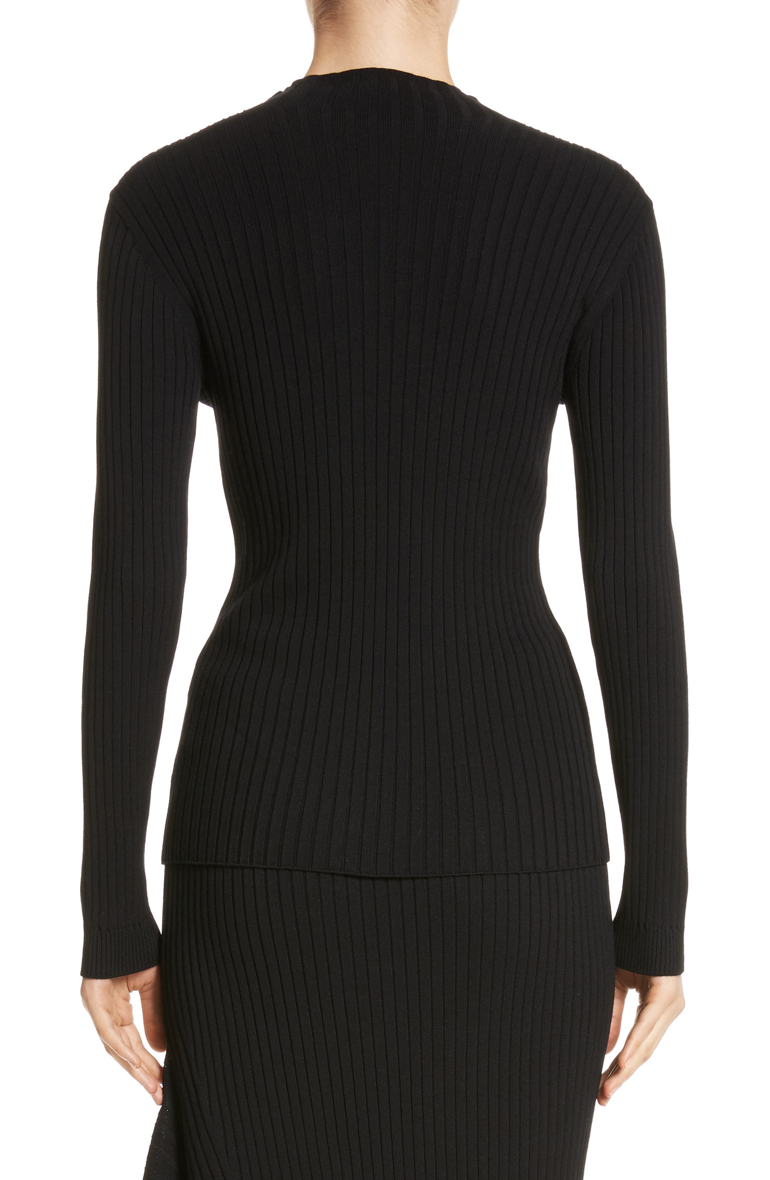 Flat Rib Knit Mock Neck Sweater,                             Alternate thumbnail 2, color,                             001