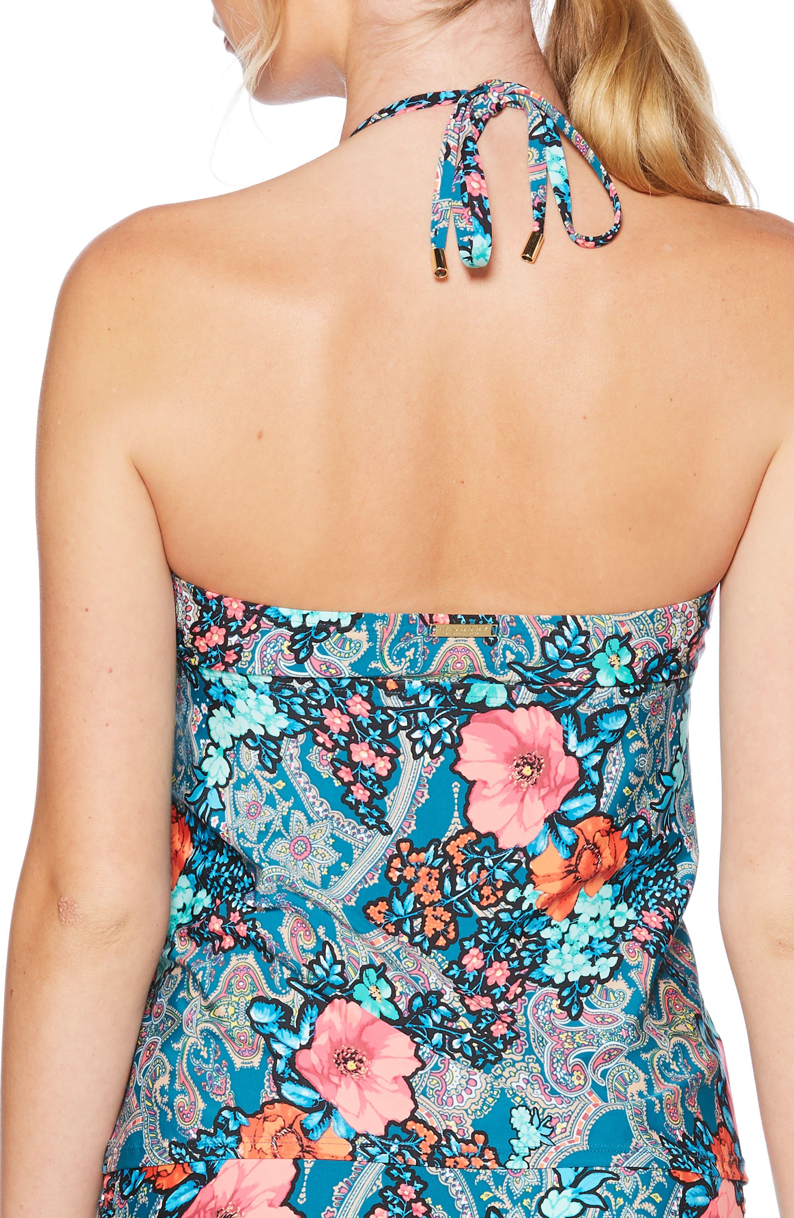 Floral Paisley Ruffle Tankini Top,                             Alternate thumbnail 2, color,                             440