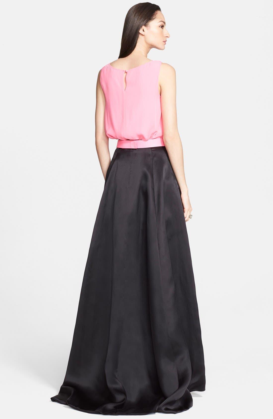 ST. JOHN COLLECTION Satin Face Silk Organza Ballgown Skirt, Main, color, 001