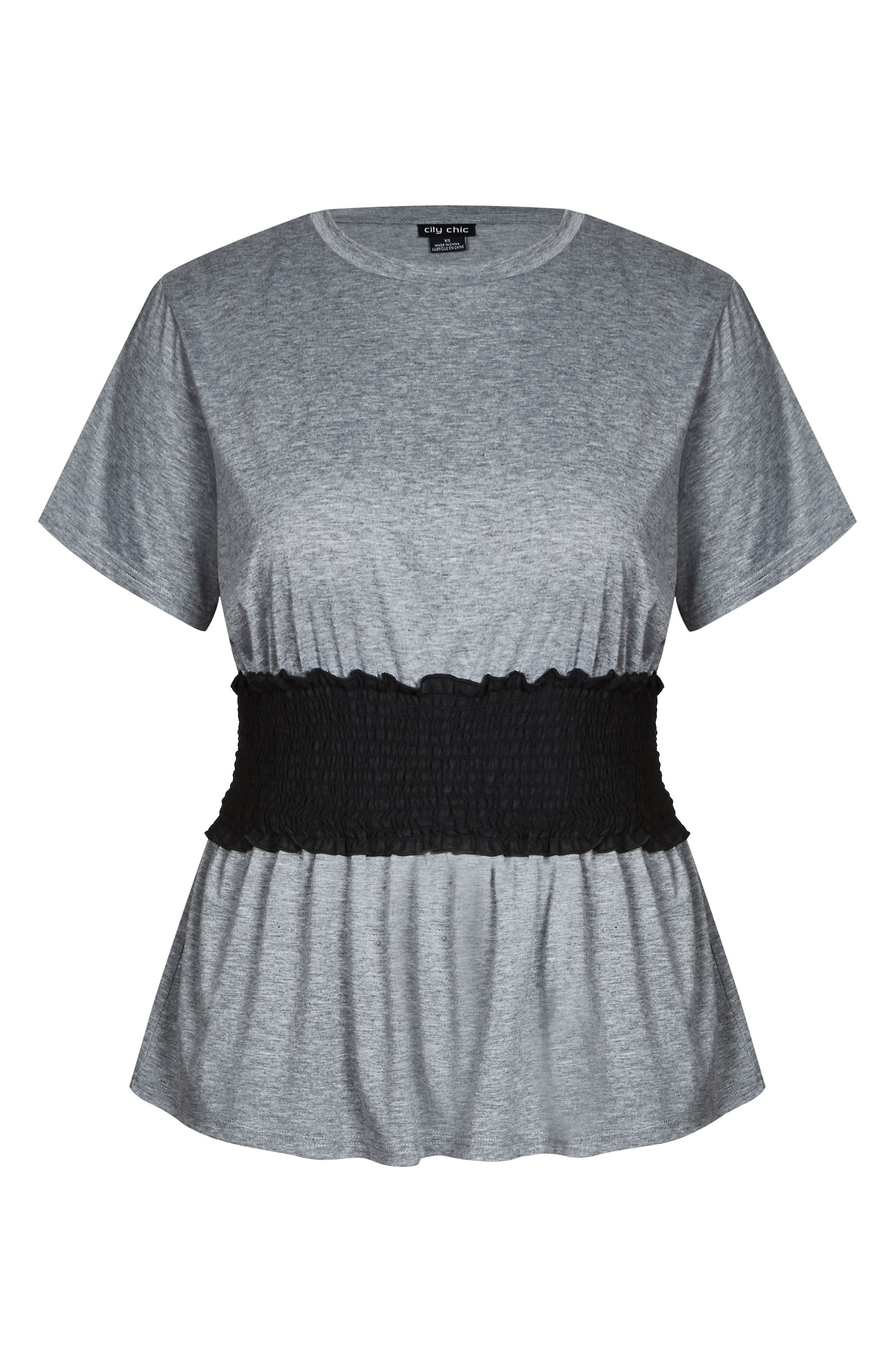 Smock Waist Tee,                             Alternate thumbnail 3, color,                             GREY