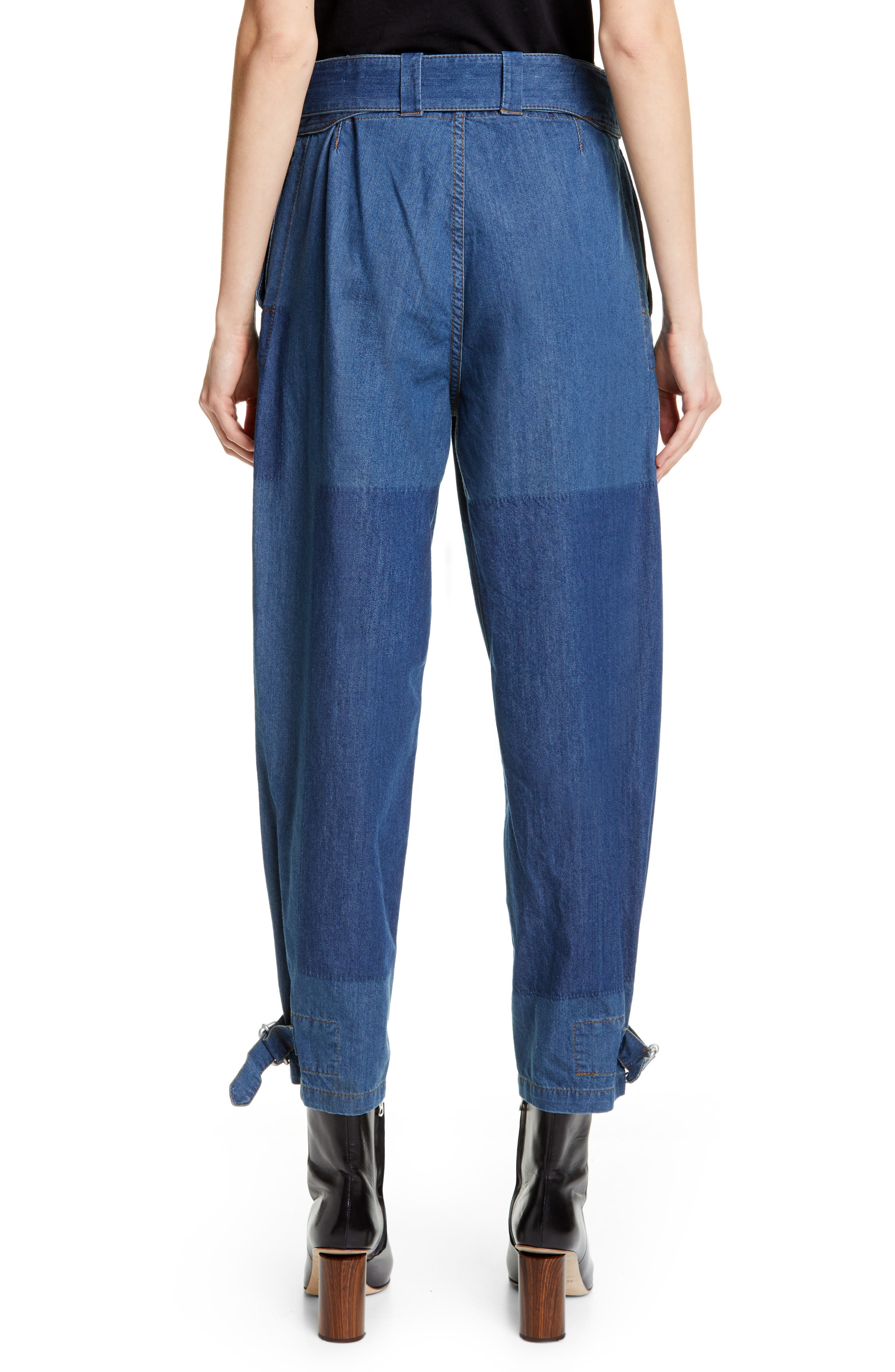 JW ANDERSON,                             Fold Front Jeans,                             Alternate thumbnail 2, color,                             MID BLUE