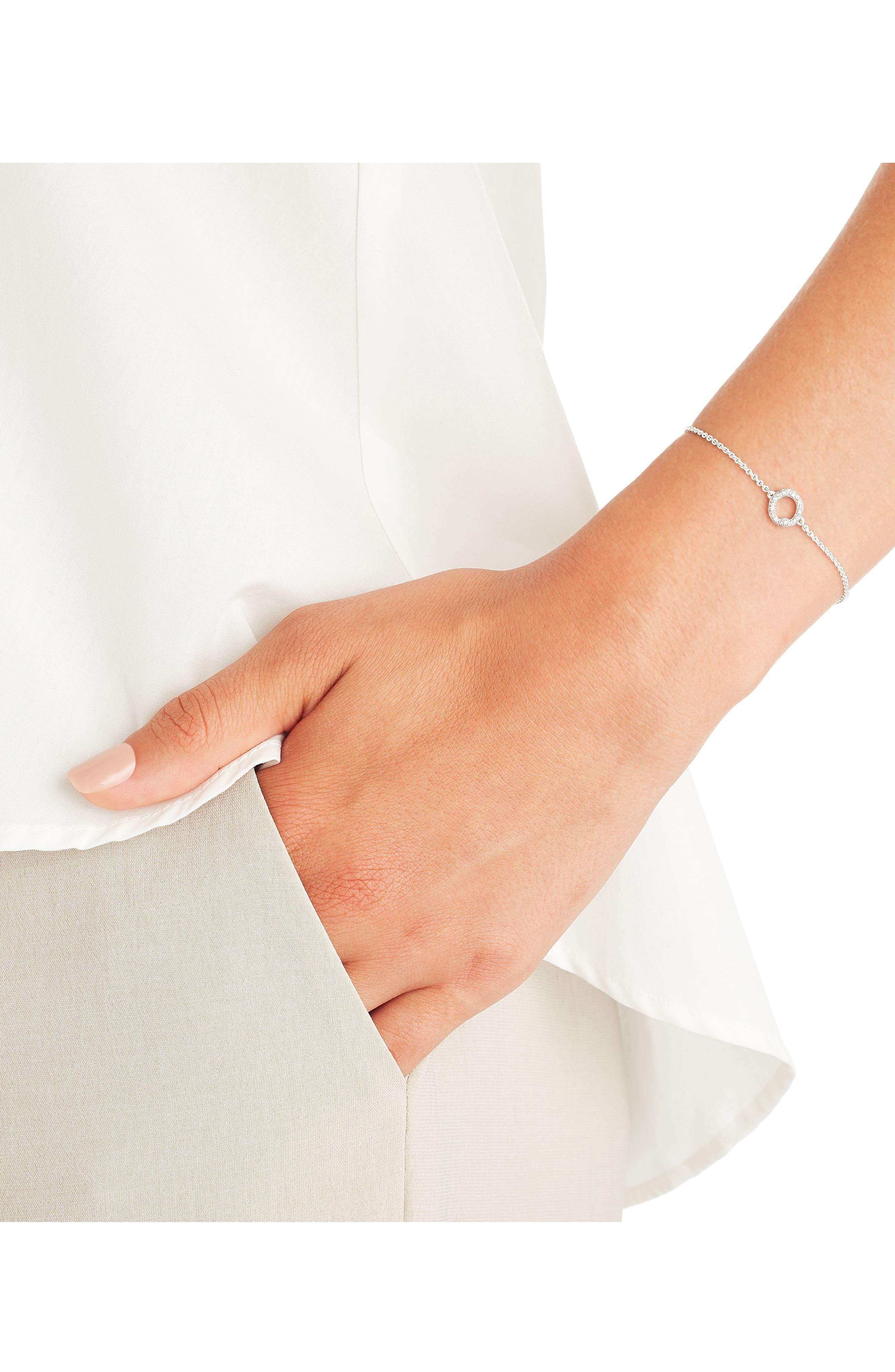 Riva Mini Circle Diamond Bracelet,                             Alternate thumbnail 2, color,                             SILVER/ DIAMOND