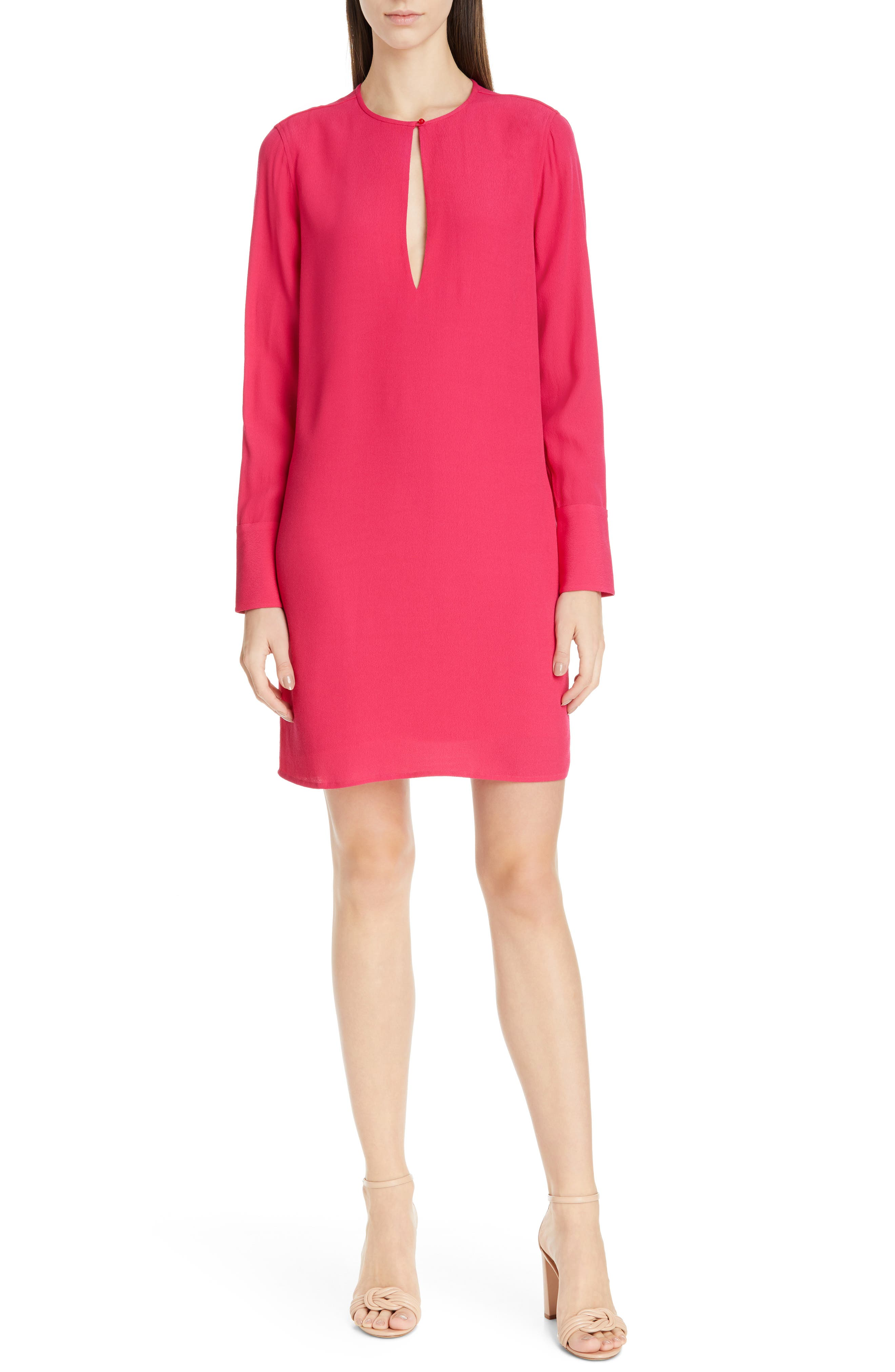 Equipment Bonnie Keyhole Long Sleeve Shift Dress, Pink
