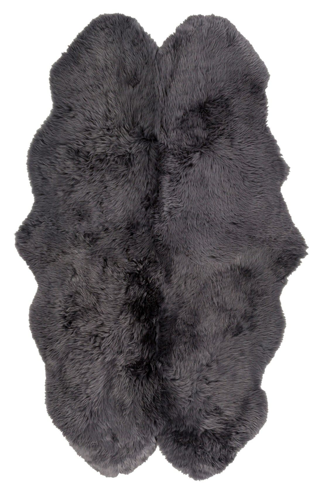 Genuine Shearling Rug,                             Alternate thumbnail 4, color,                             GREY