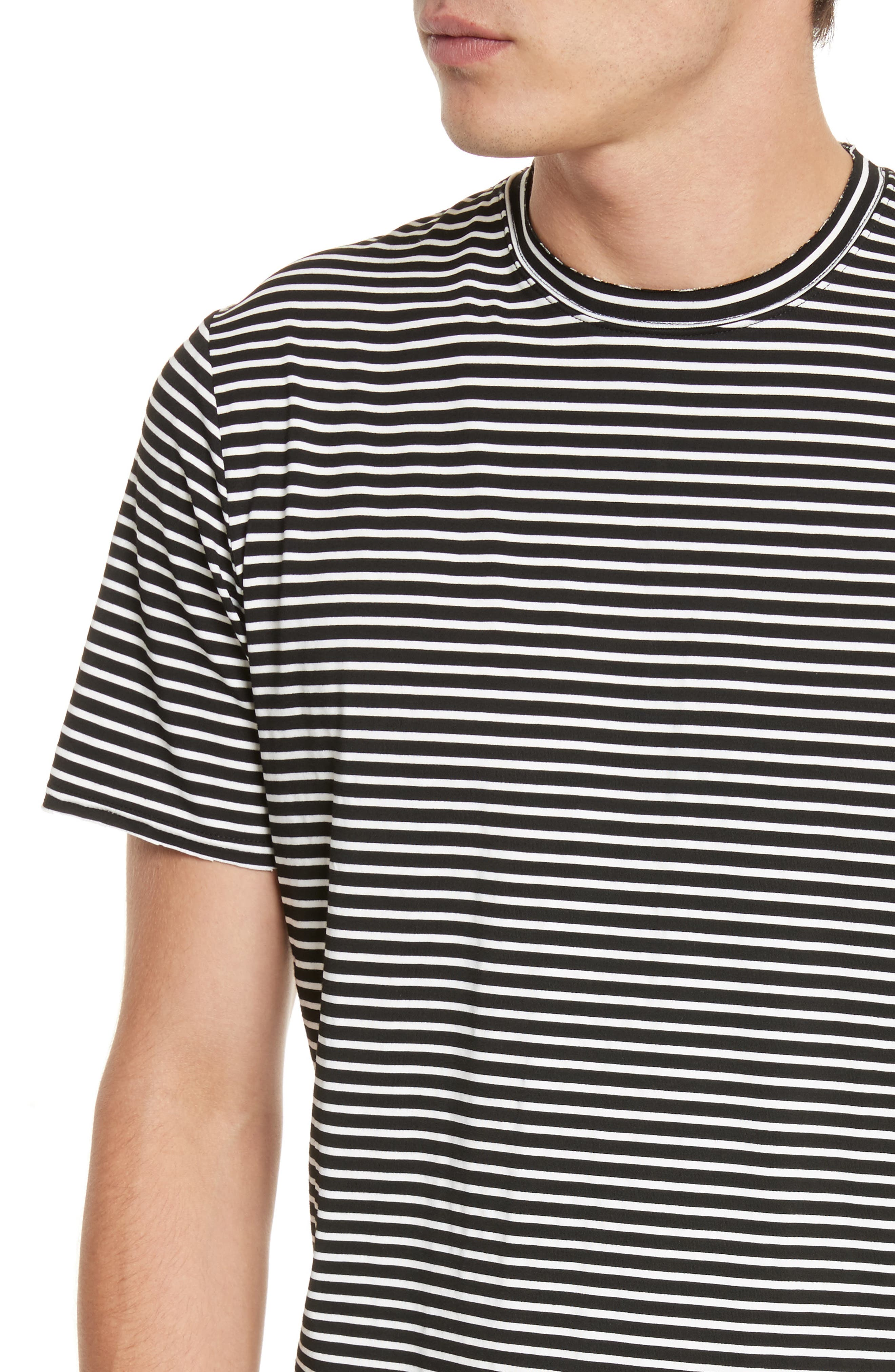 Raw Edge Stripe T-Shirt,                             Alternate thumbnail 4, color,                             008
