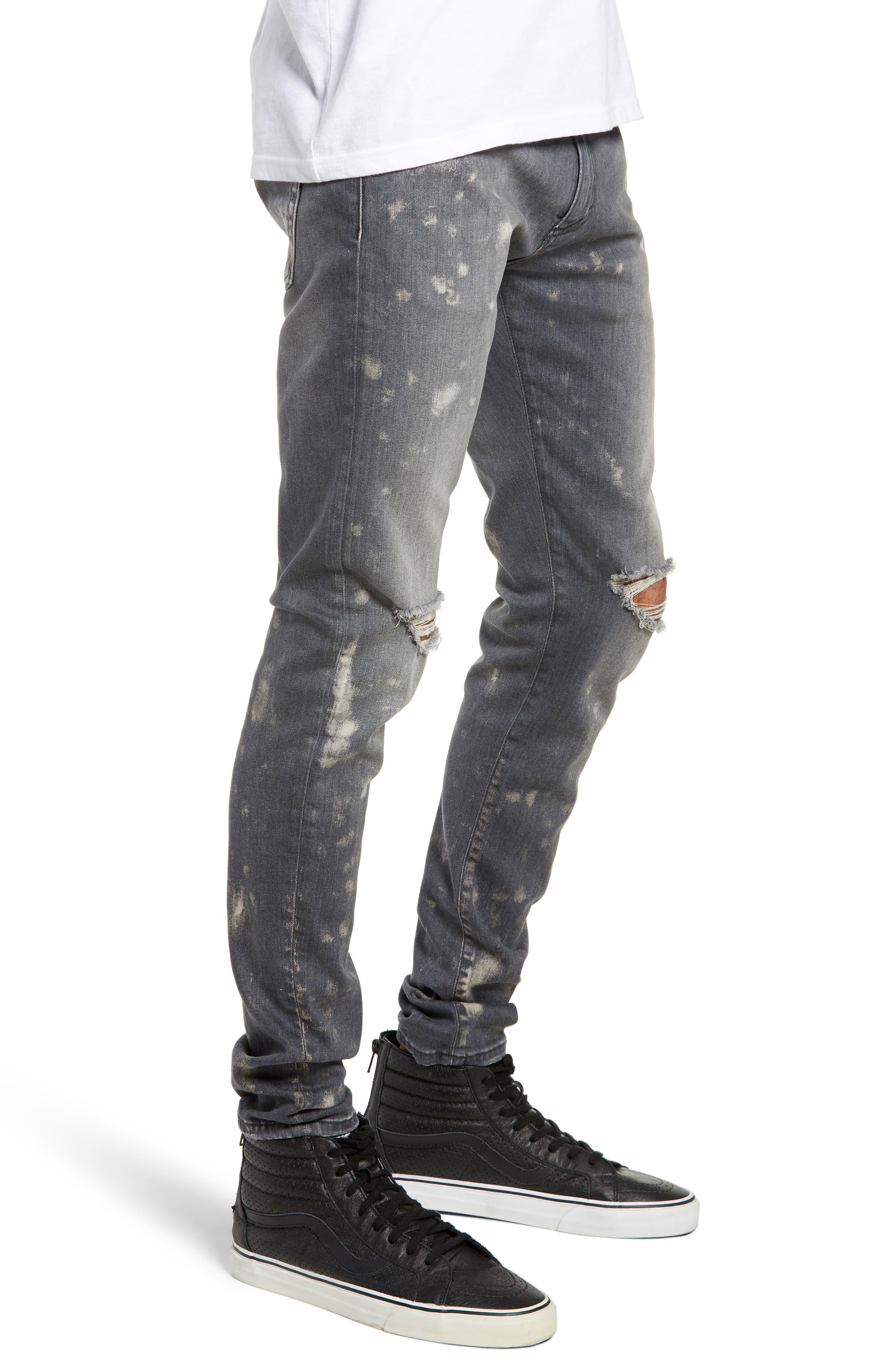 Destroyer Ripped Slim Fit Jeans,                             Alternate thumbnail 3, color,                             GREY STONE