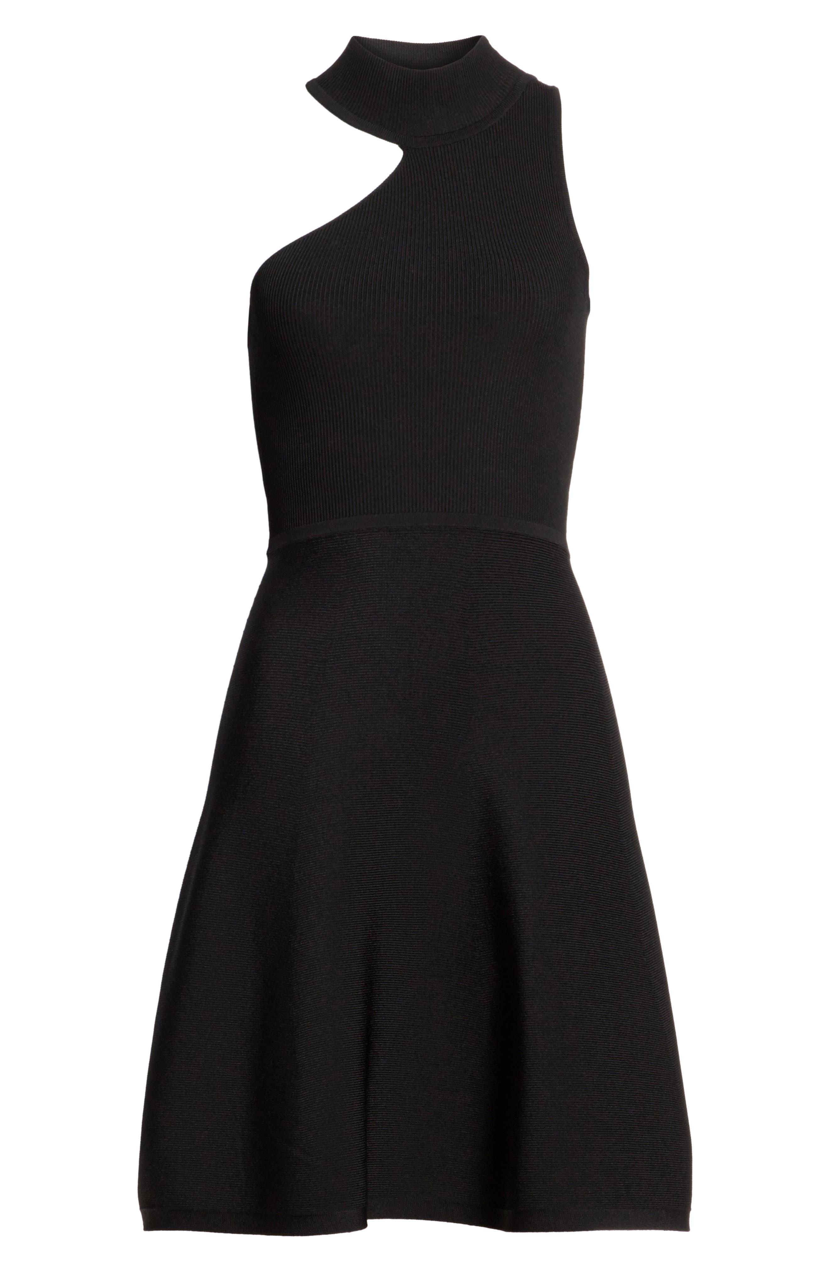 Vika One-Shoulder Knit Flare Dress,                             Alternate thumbnail 6, color,                             001