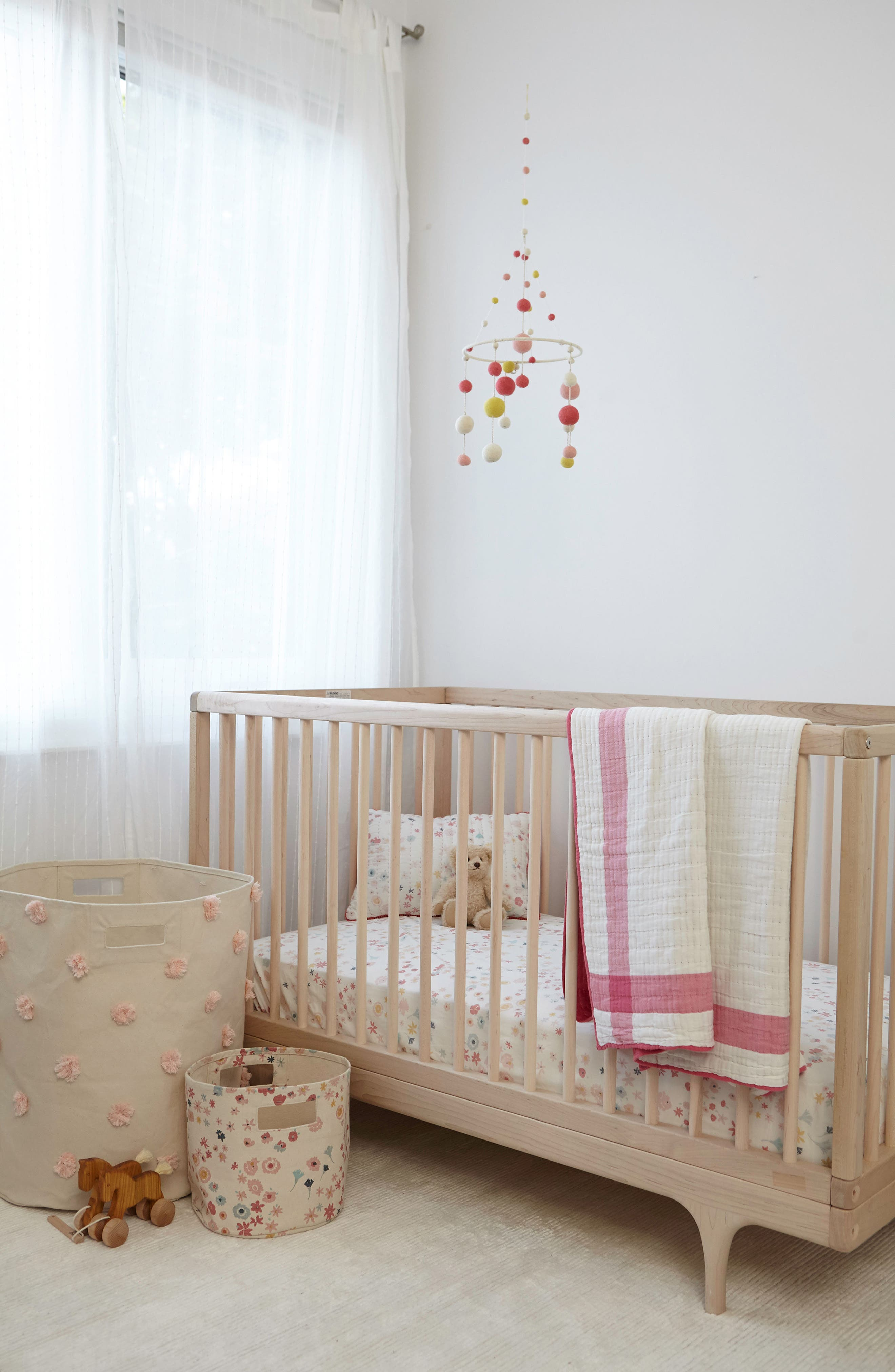 Meadow Crib Sheet,                             Alternate thumbnail 2, color,                             PINK