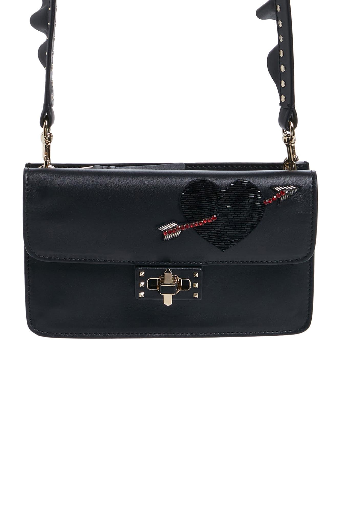 Very V Mini Leather Shoulder Bag,                             Main thumbnail 1, color,                             001