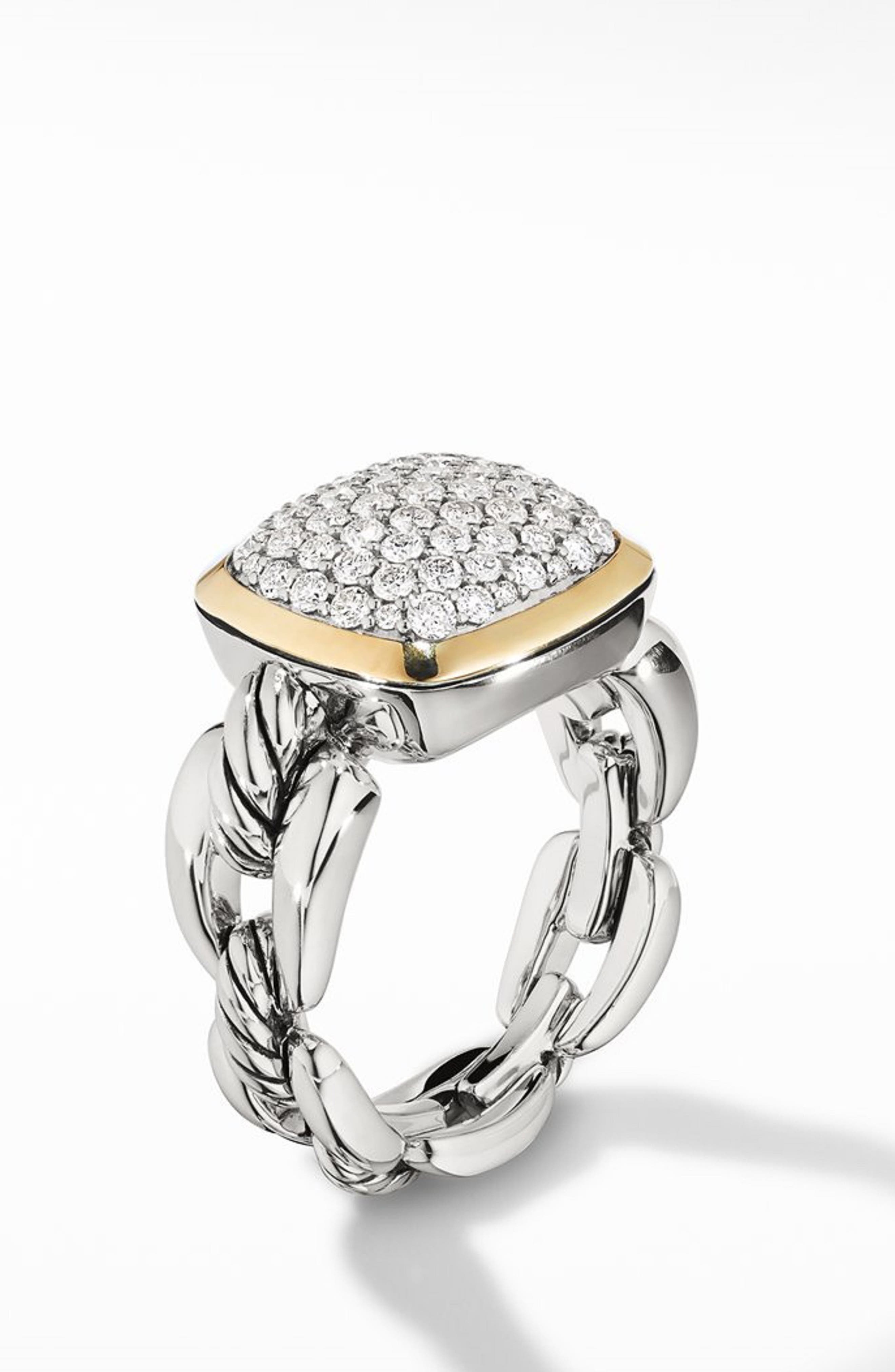 Wellesley Link Statement Ring with 18k Gold & Diamonds,                         Main,                         color, SILVER/ DIAMOND