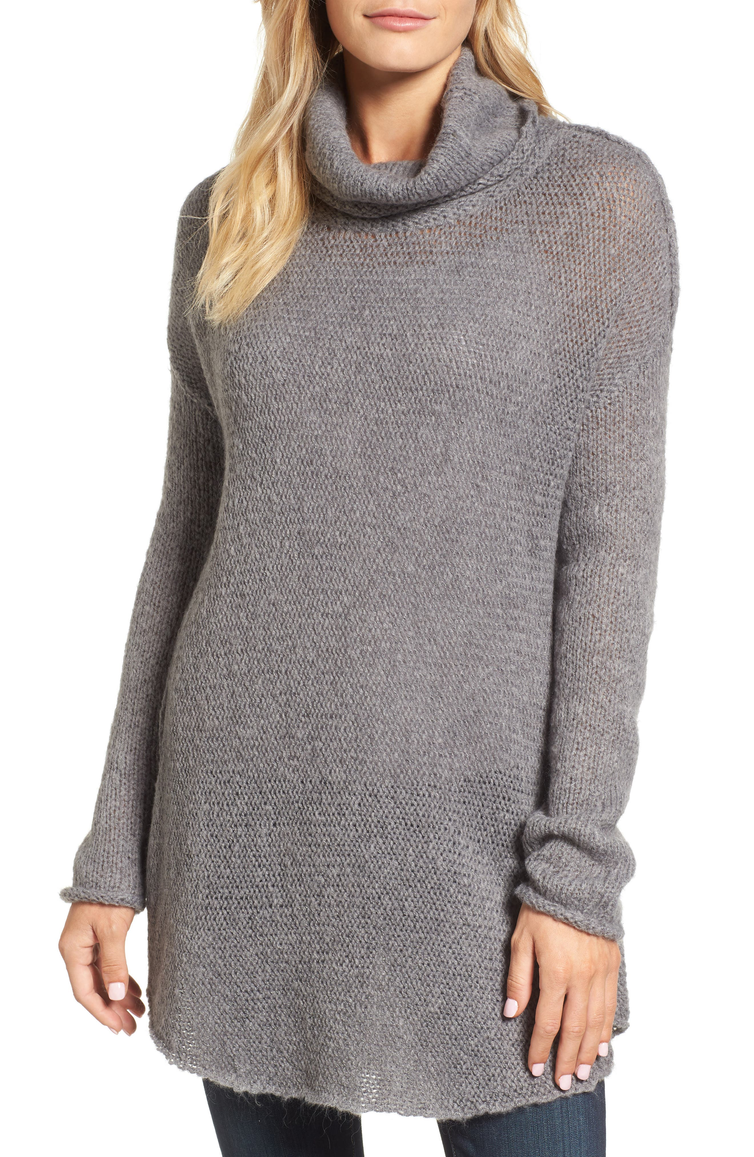 Tunic Sweater,                             Main thumbnail 1, color,                             GREY DARK HEATHER
