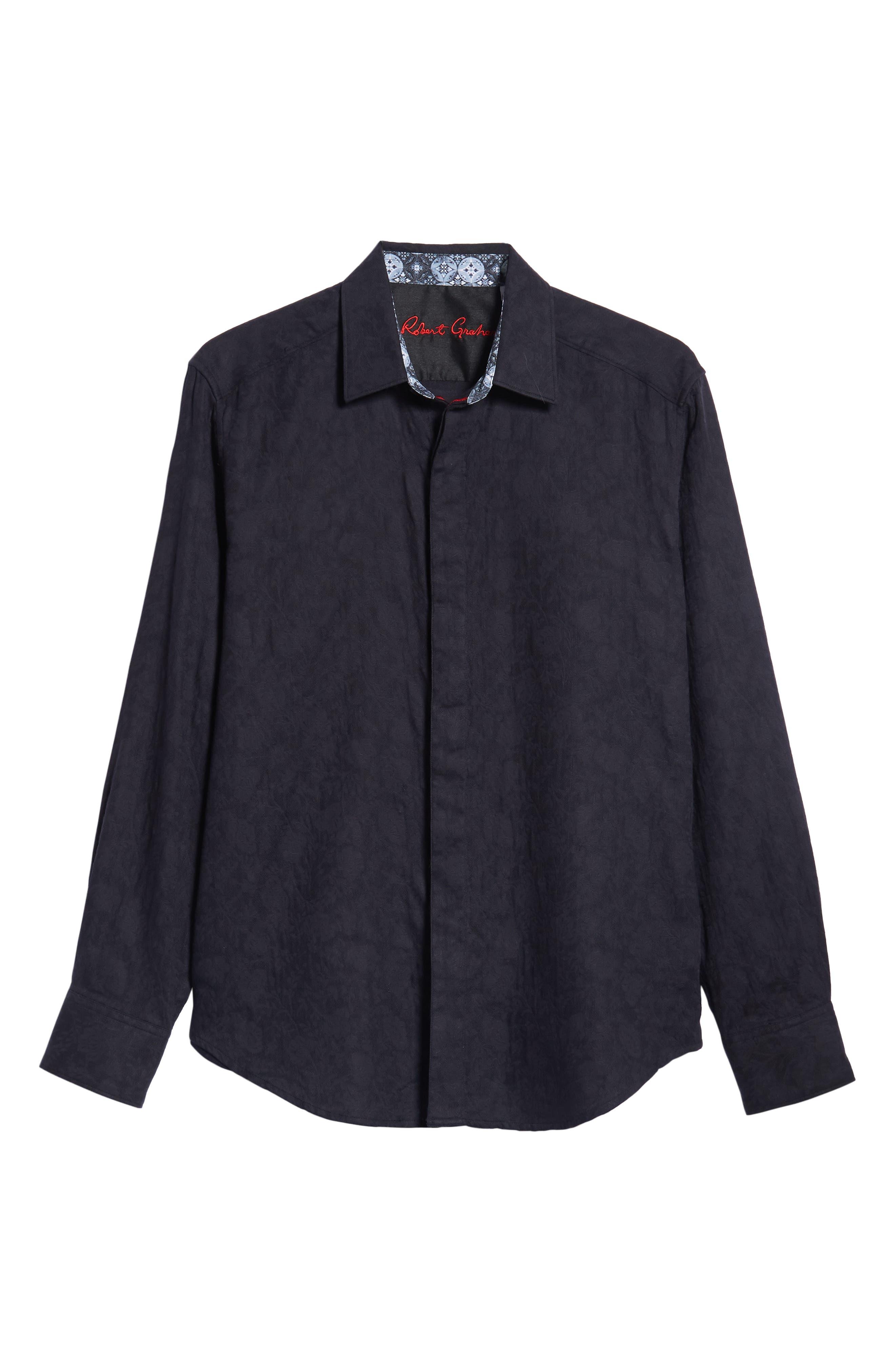 Nicholls Classic Fit Sport Shirt,                             Alternate thumbnail 5, color,                             BLACK