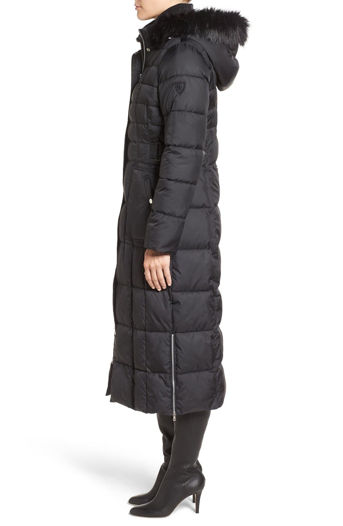 Quilted Maxi Coat with Faux Fur Trim,                             Alternate thumbnail 6, color,