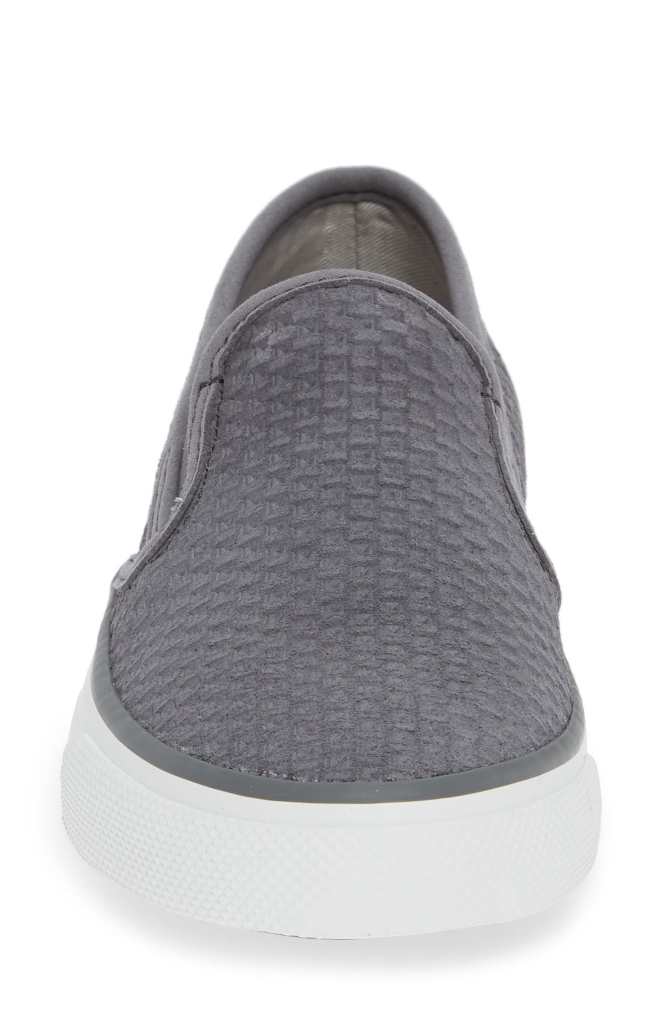 Seaside Embossed Slip-On Sneaker,                             Alternate thumbnail 4, color,                             GREY SUEDE
