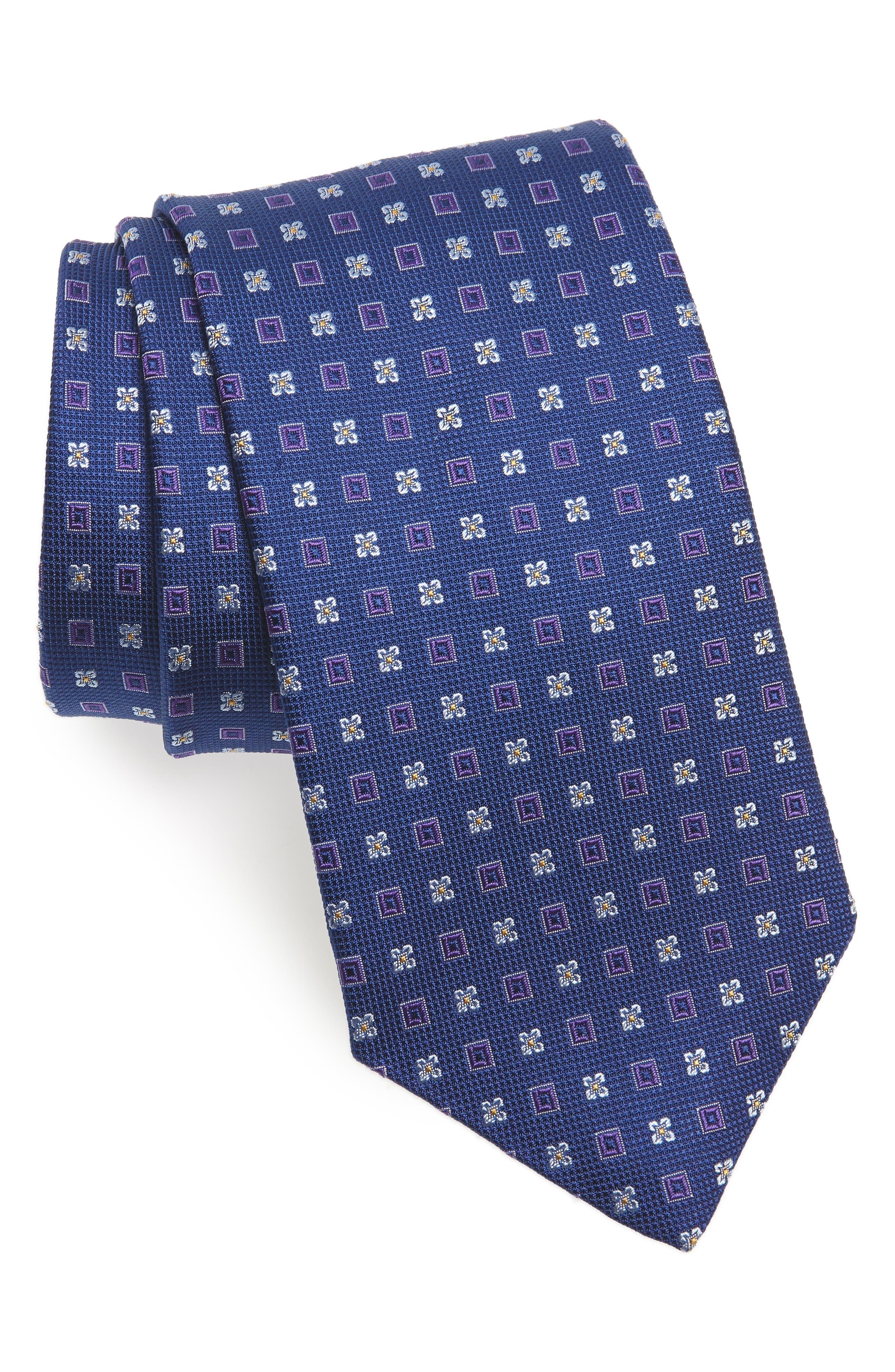 Geometric Silk Tie,                             Main thumbnail 1, color,                             ROYAL