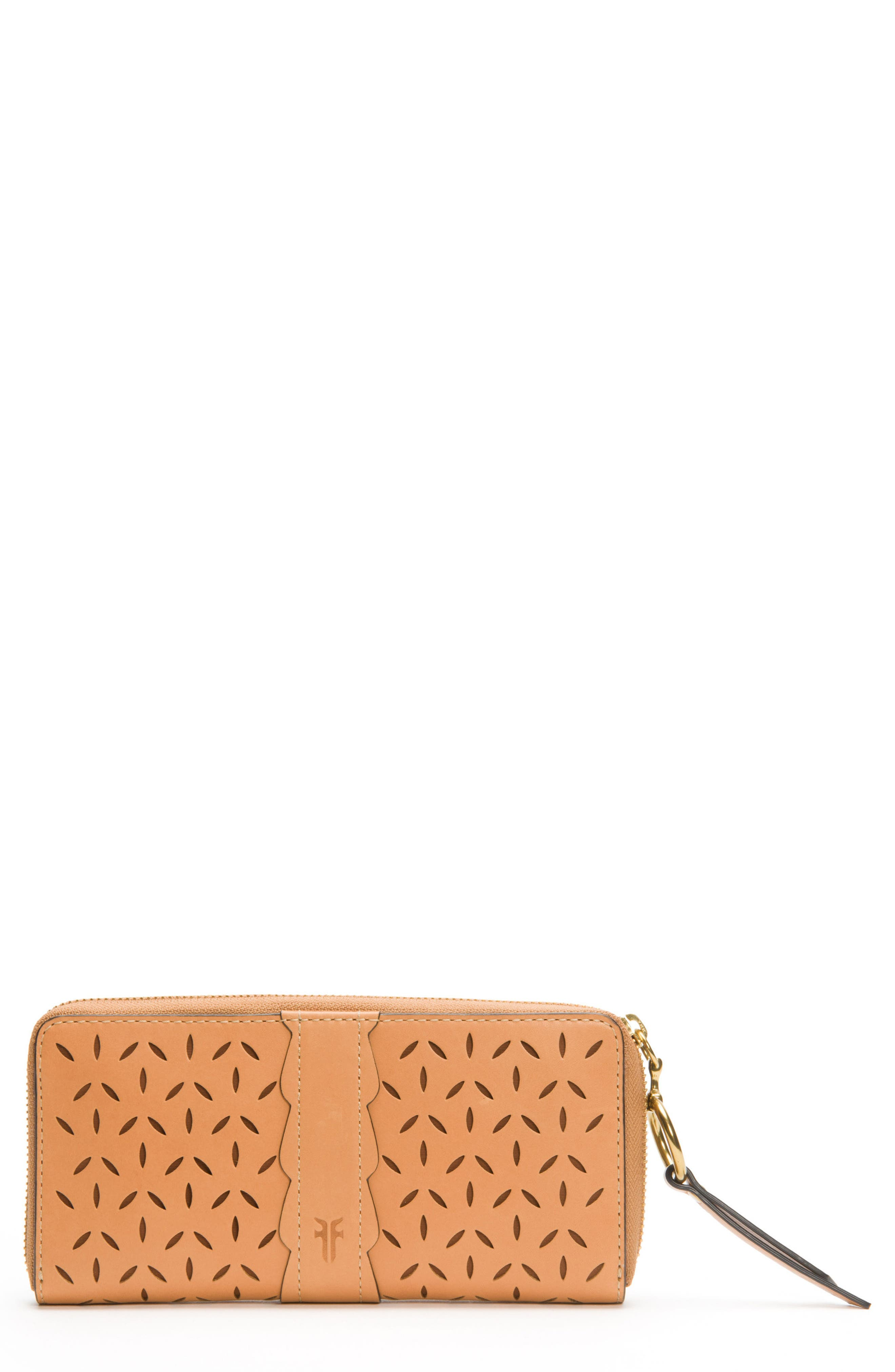 Large Ilana Perforated Leather Zip Wallet,                             Main thumbnail 2, color,