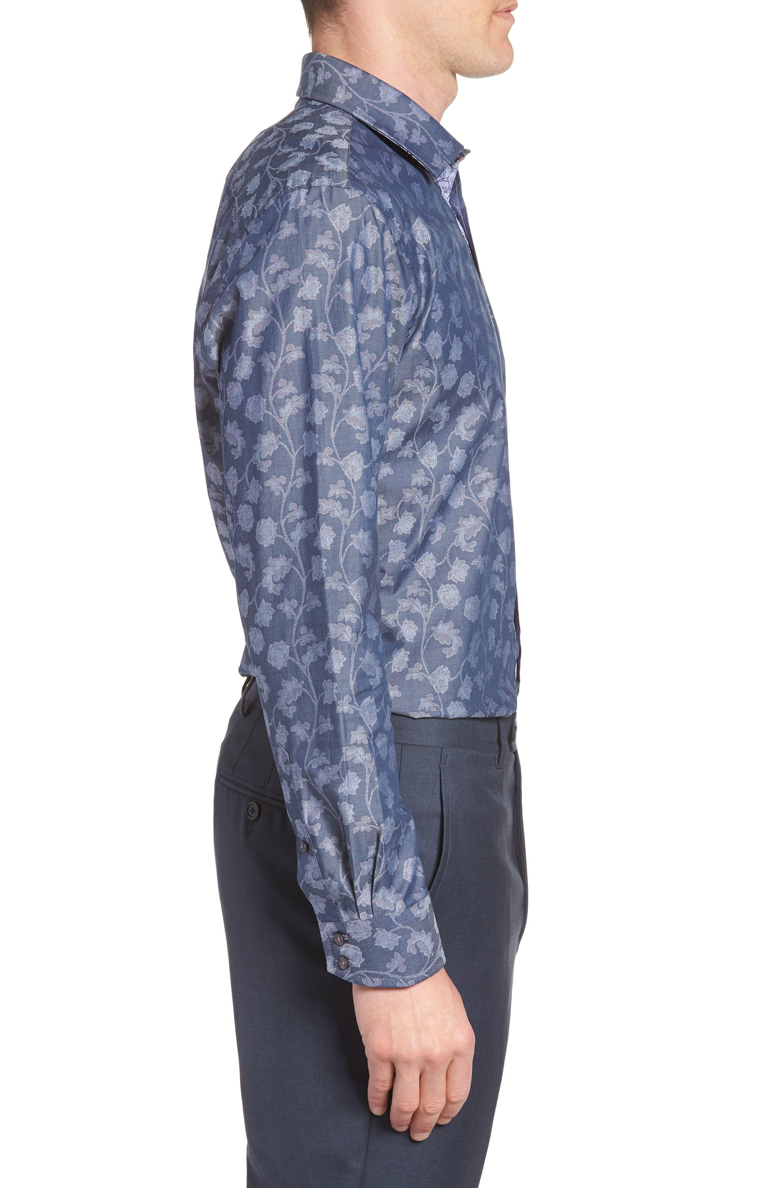 Place Trim Fit Floral Dress Shirt,                             Alternate thumbnail 4, color,                             NAVY