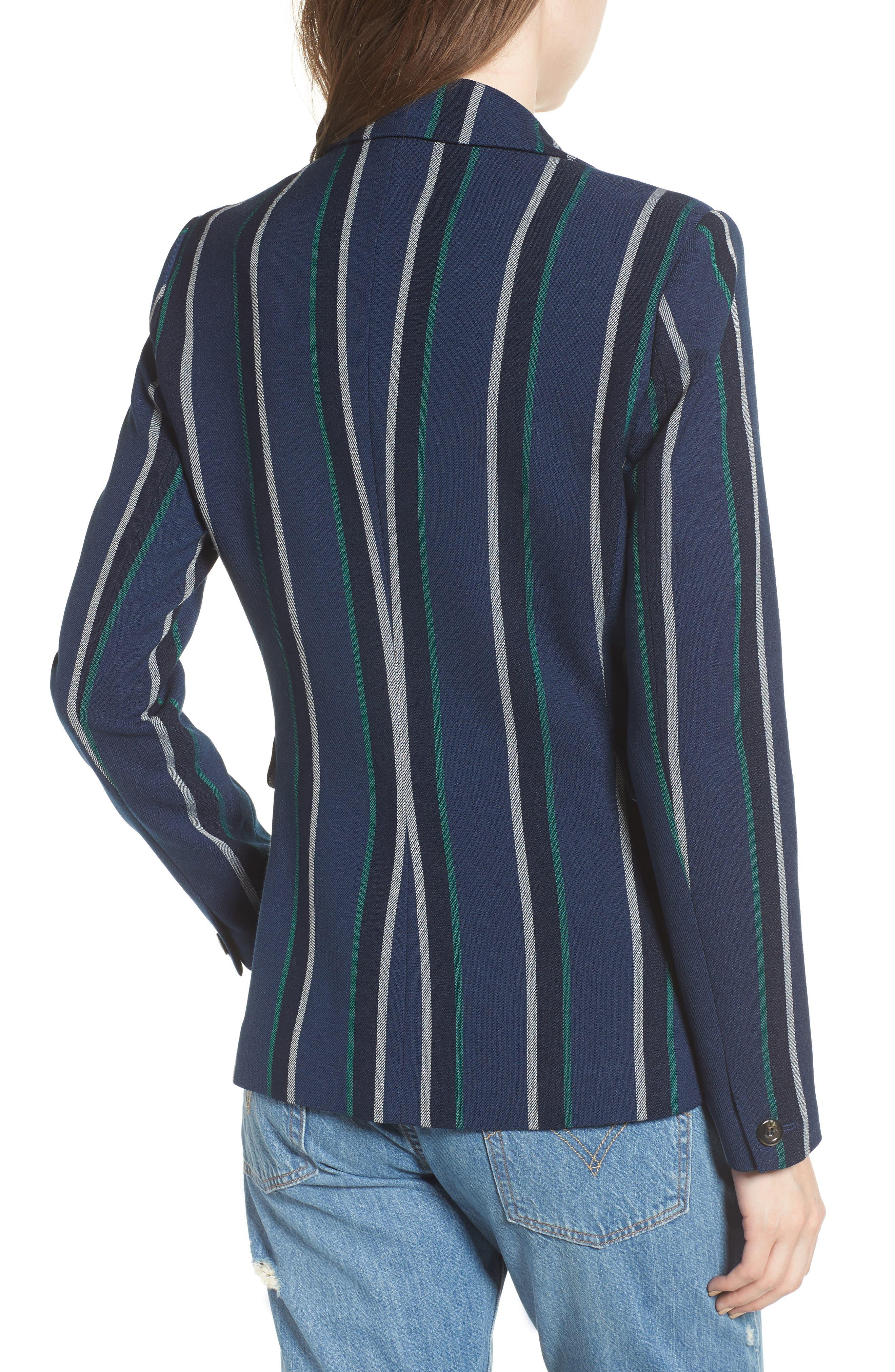 Stripe Blazer,                             Alternate thumbnail 2, color,                             NAVY SEAFOAM