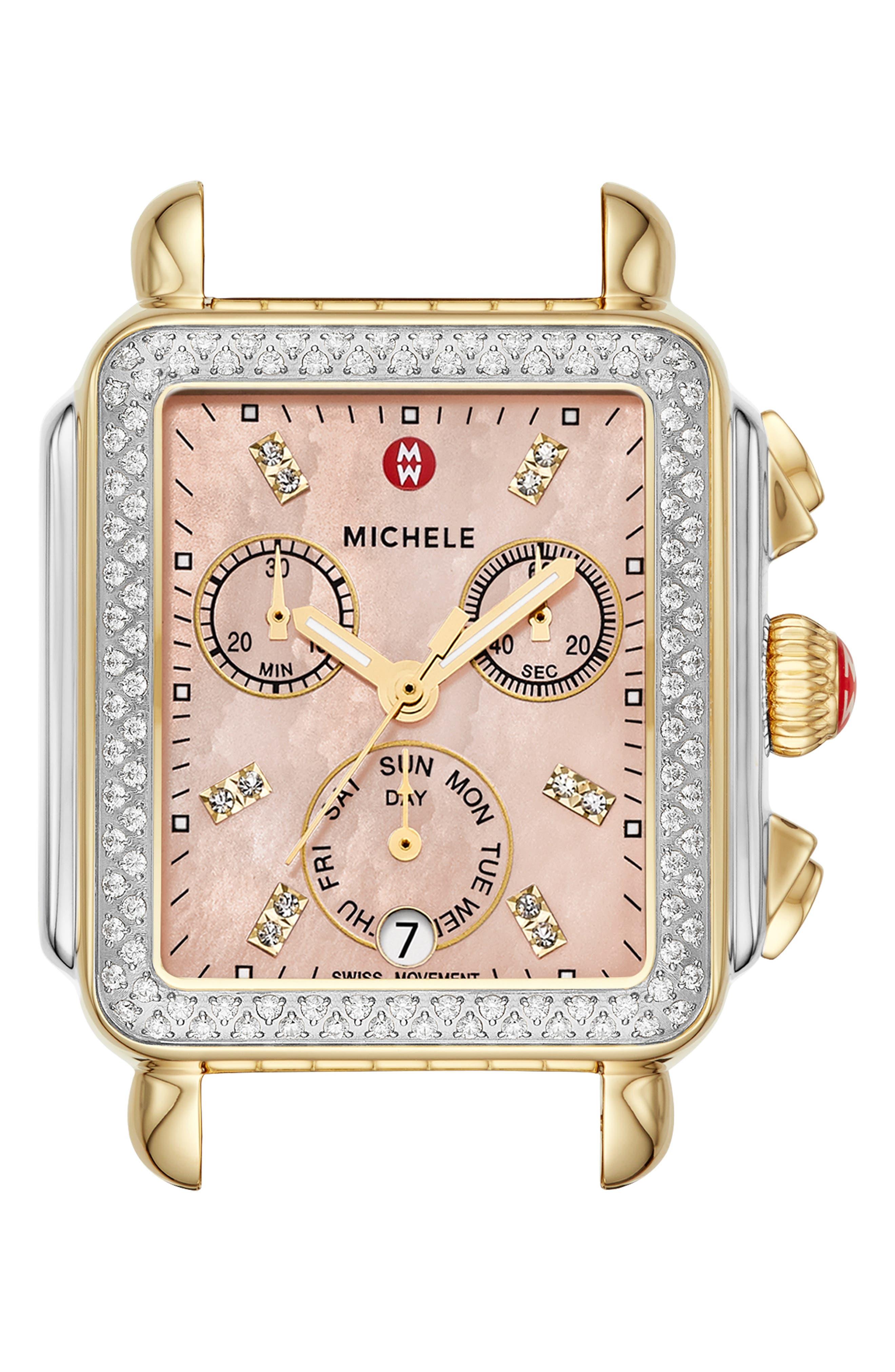Deco Diamond Diamond Dial Watch Head, 33mm x 35mm,                             Main thumbnail 1, color,                             GOLD/ SILVER/ DESERT ROSE MOP