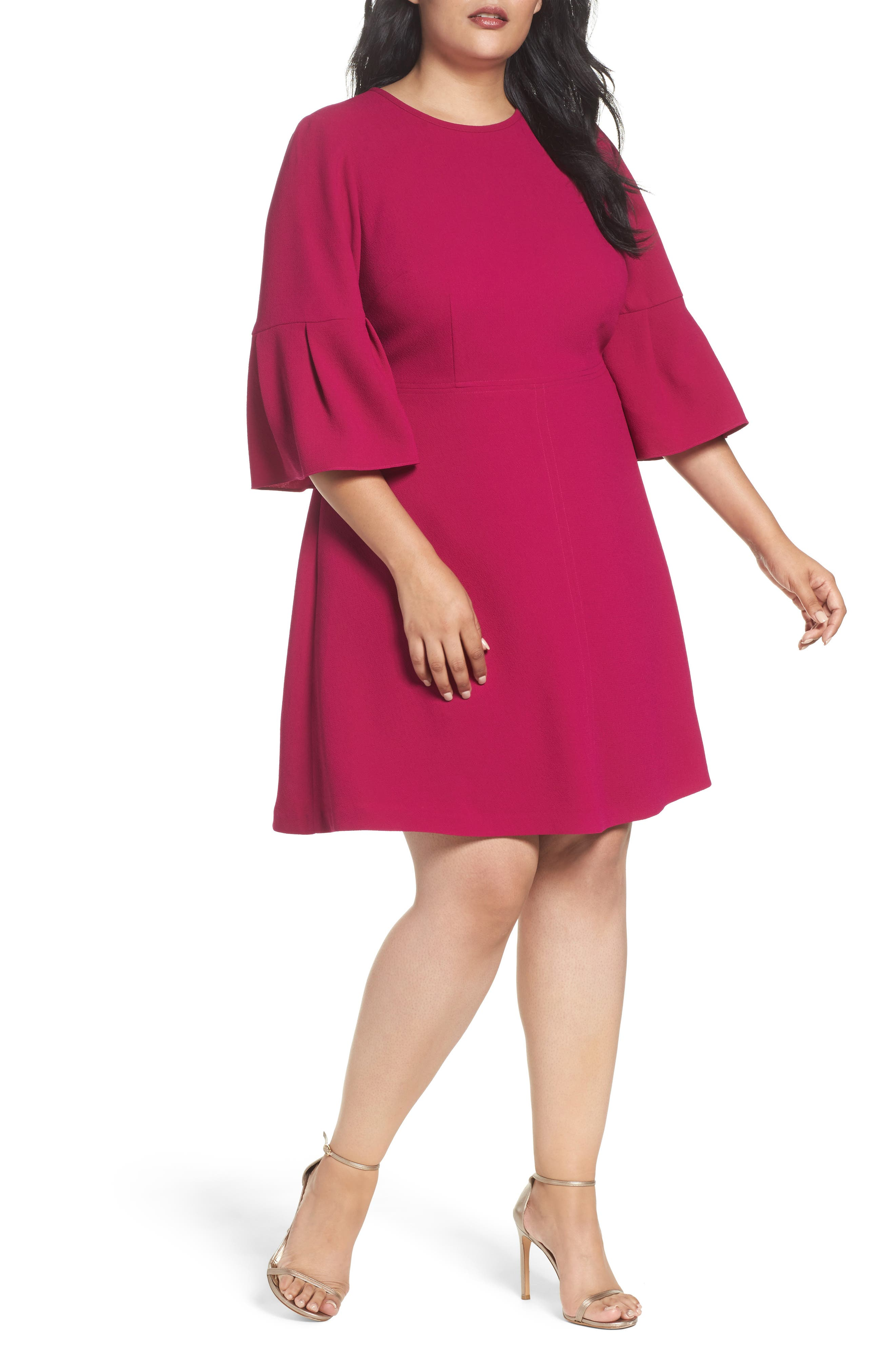 Bell Sleeve Fit & Flare Dress,                             Alternate thumbnail 5, color,
