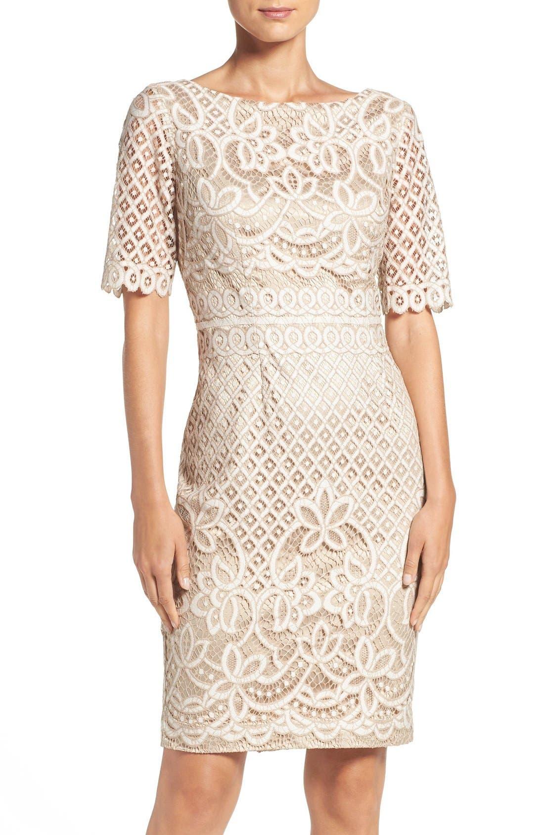 Lace Sheath Dress,                             Main thumbnail 1, color,                             IVORY NUDE