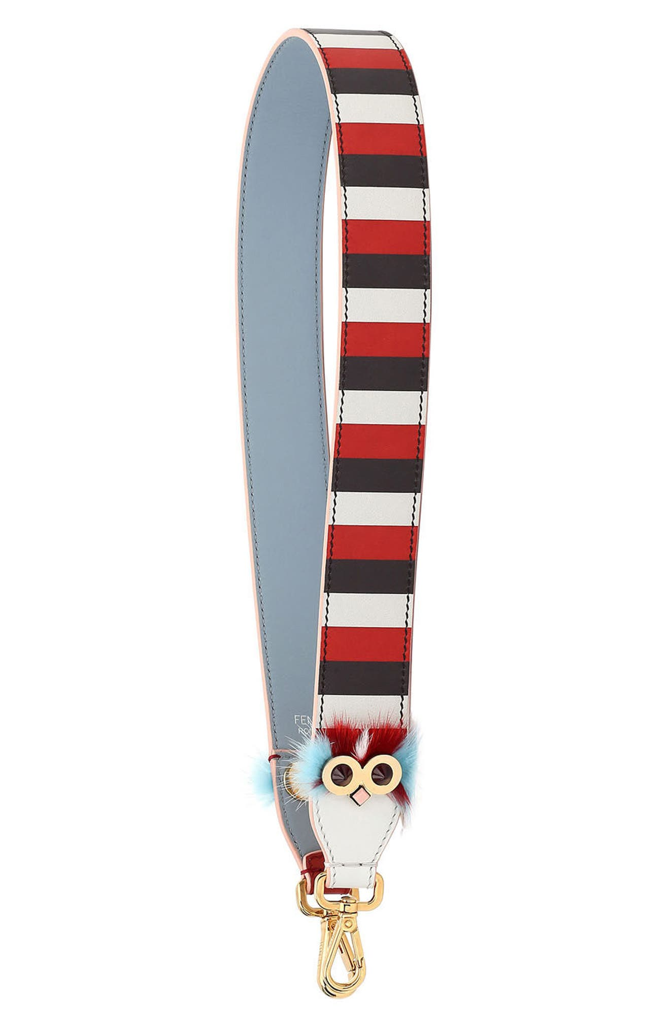 Strap You Striped Leather Guitar Bag Strap with Genuine Mink Fur Trim,                             Main thumbnail 1, color,                             WHITE/BLOODY MARY/MULTI