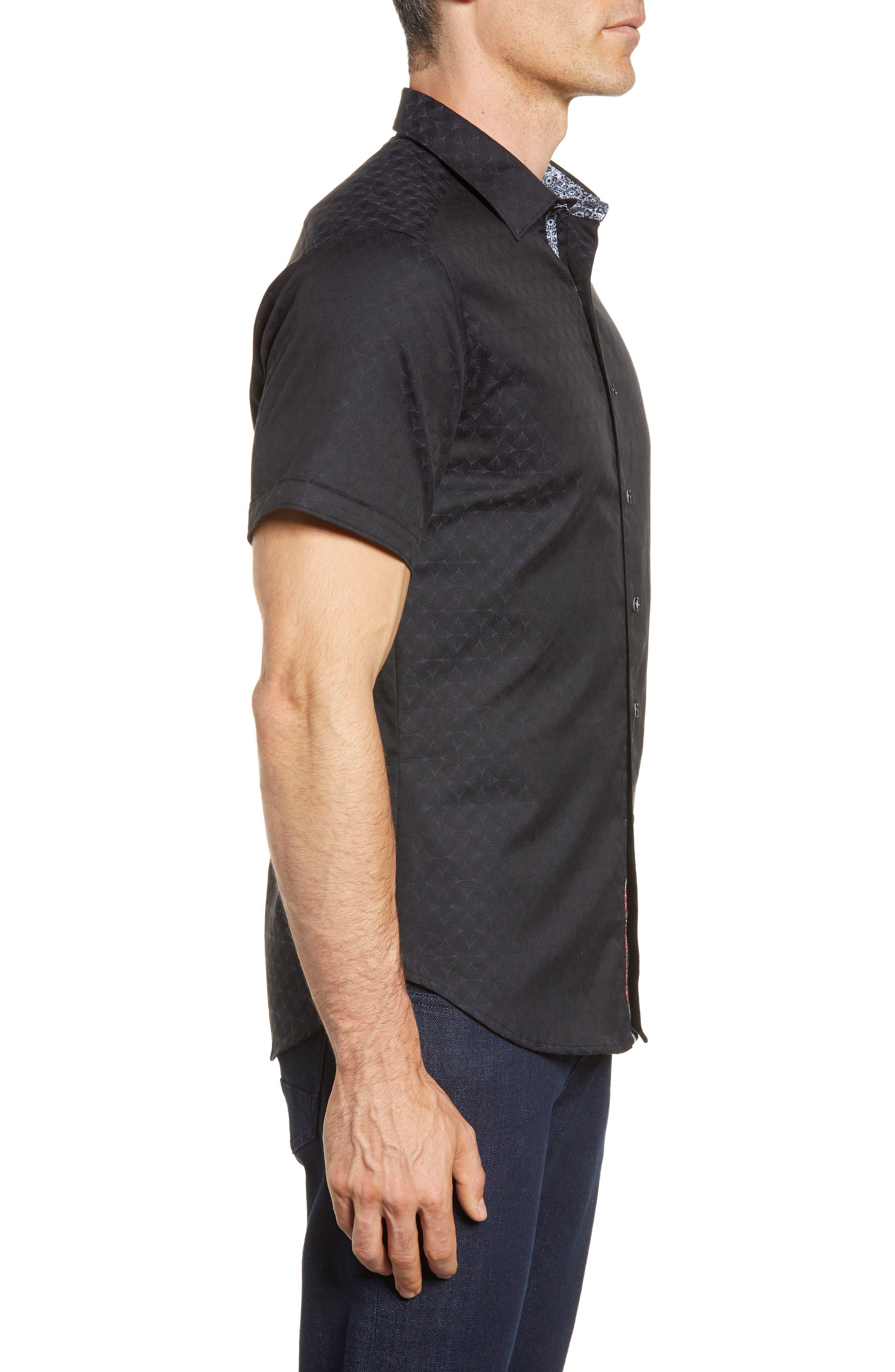Diamante Classic Fit Sport Shirt,                             Alternate thumbnail 3, color,                             BLACK