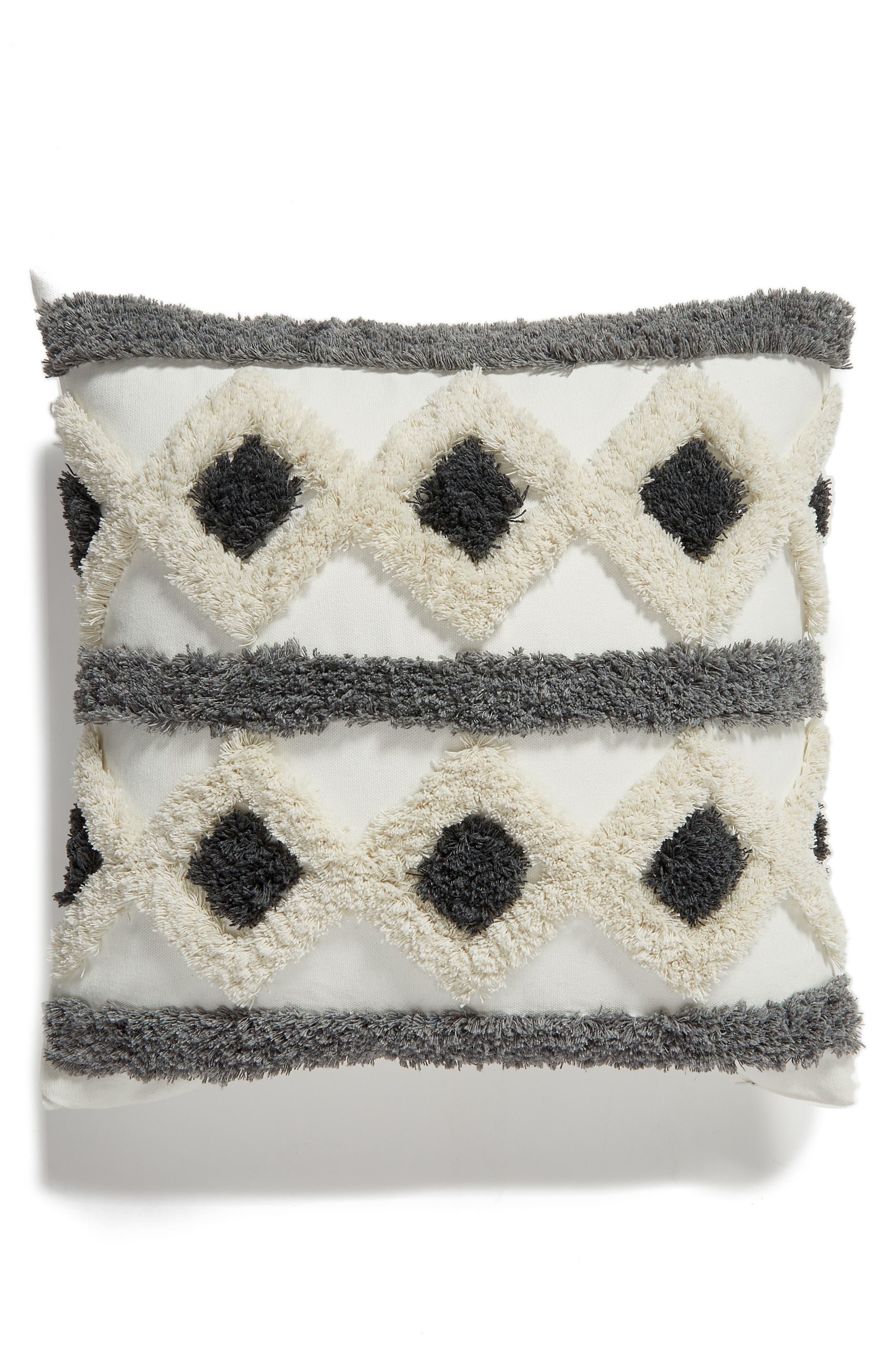 Tufted Diamond Accent Pillow,                             Main thumbnail 1, color,                             GREY