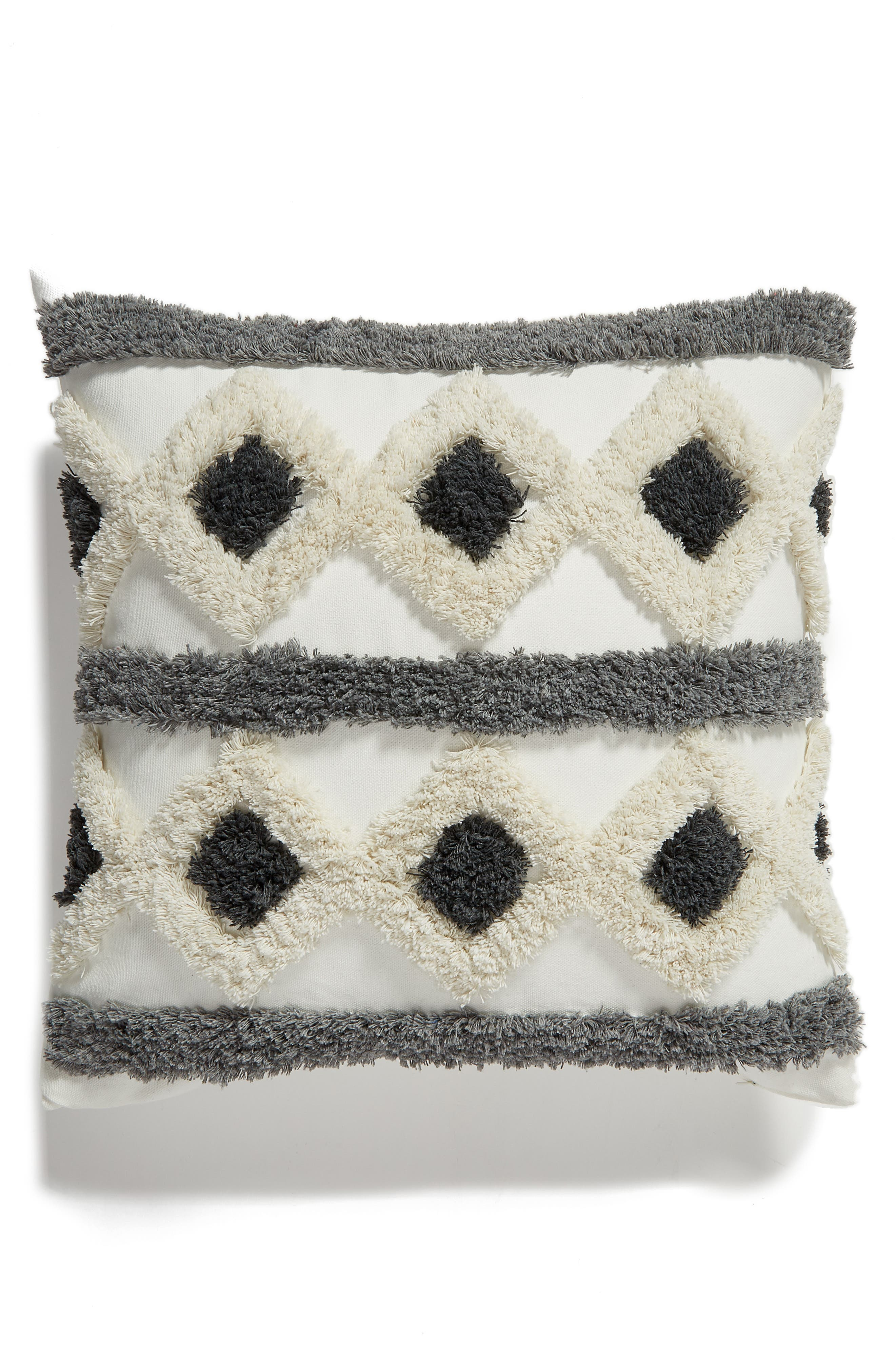 Tufted Diamond Accent Pillow, Main, color, GREY