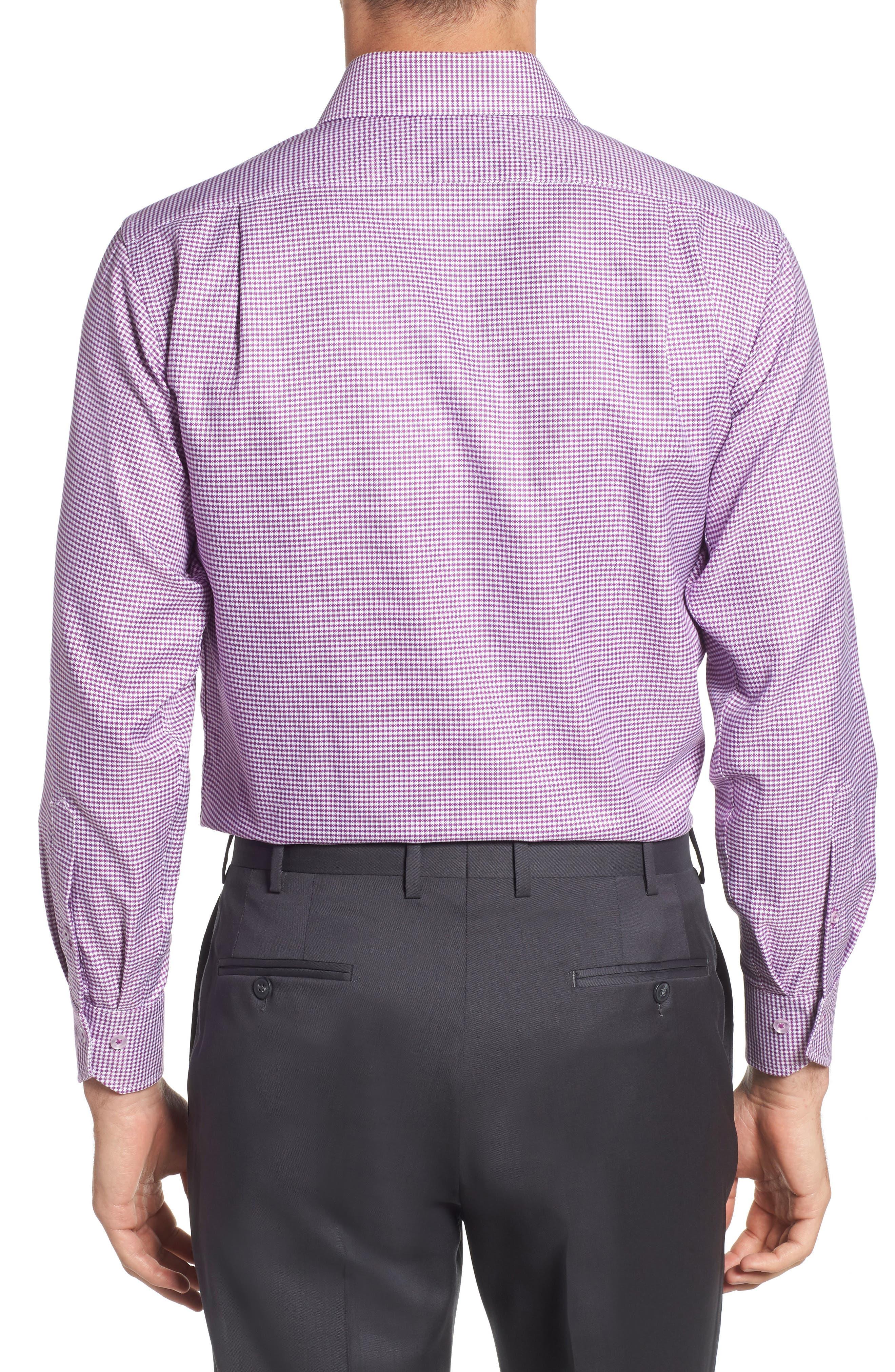 Trim Fit Check Dress Shirt,                             Alternate thumbnail 3, color,                             PURPLE